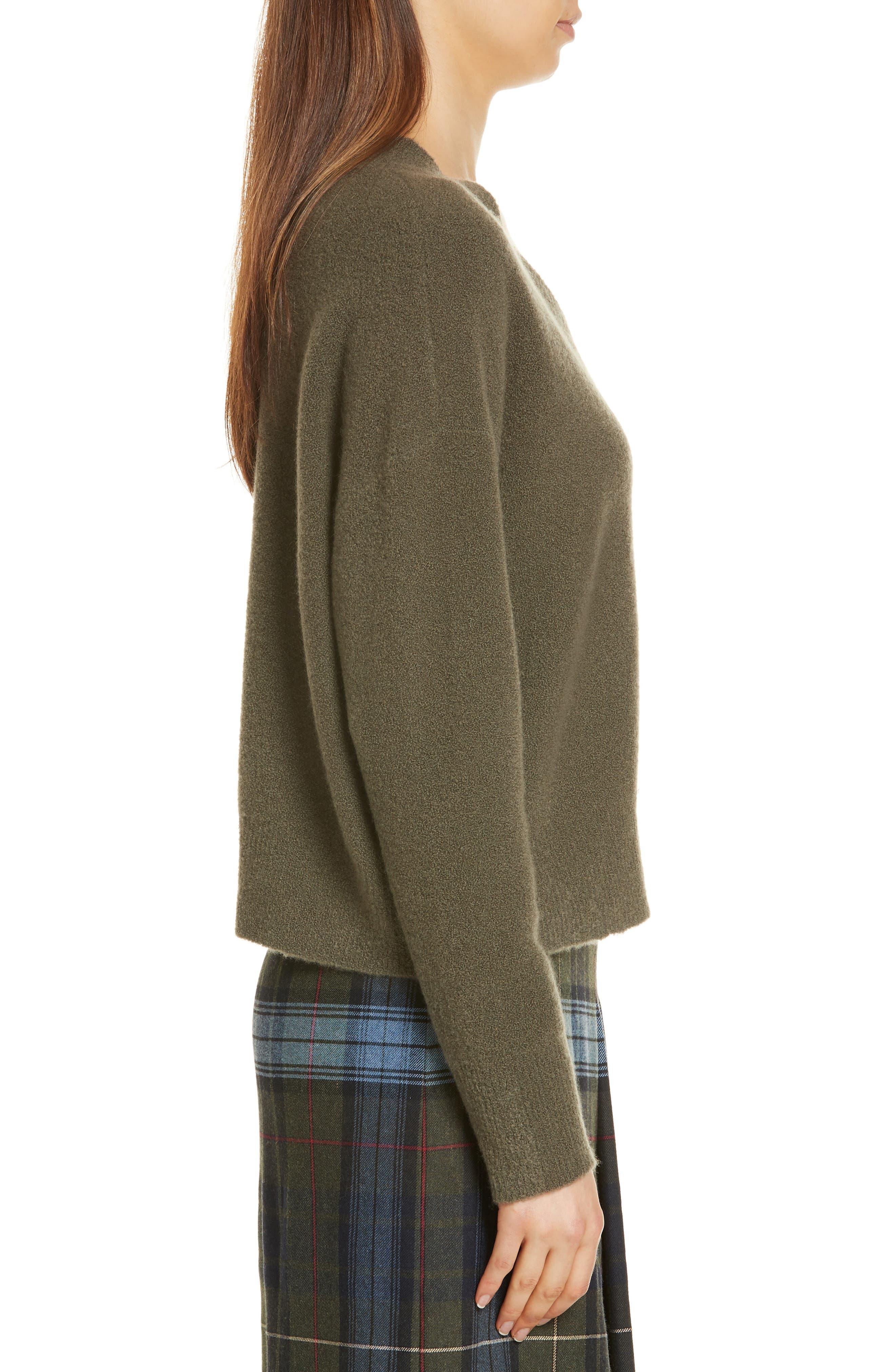 Cashmere Blend Bouclé Sweater,                             Alternate thumbnail 3, color,                             OLIVE IVY HEATHER