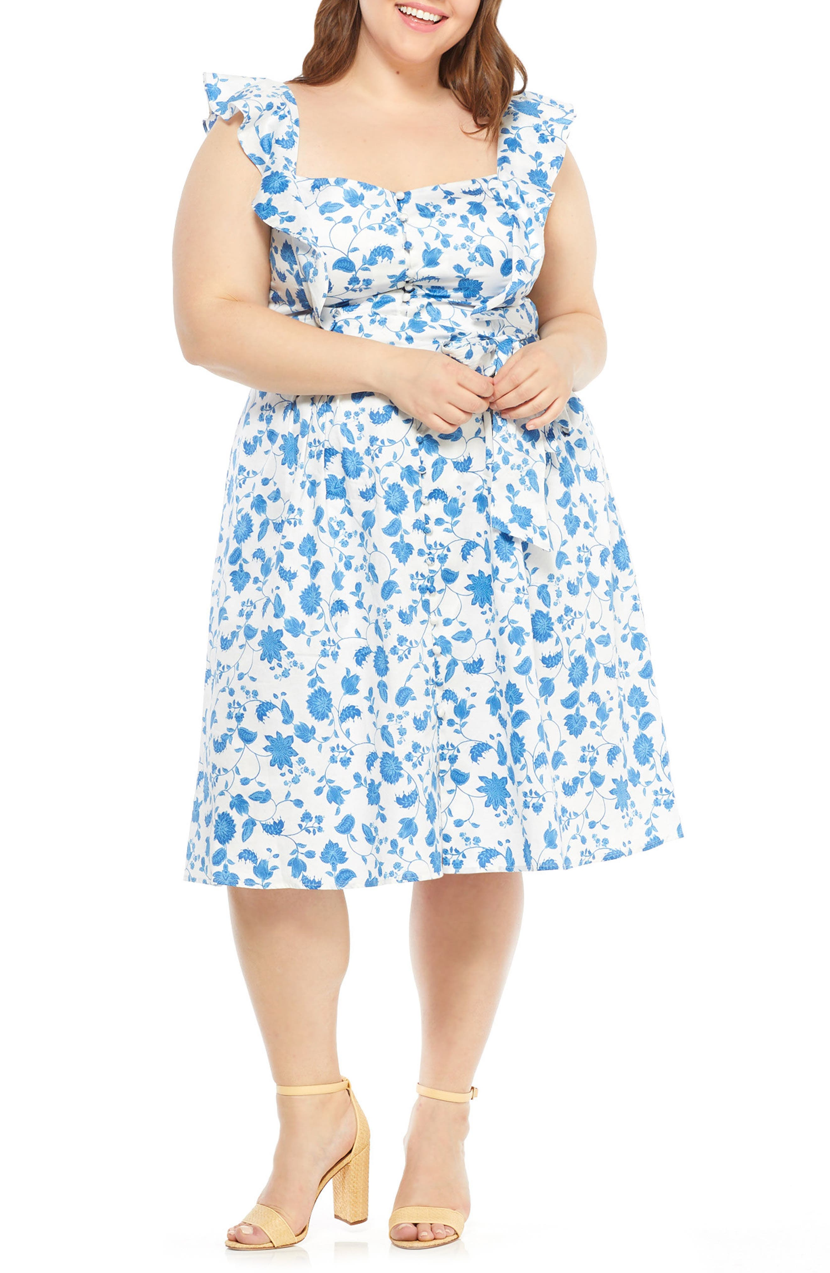 Olivia Floral Wallpaper Print Fit & Flare Dress,                             Alternate thumbnail 2, color,                             400
