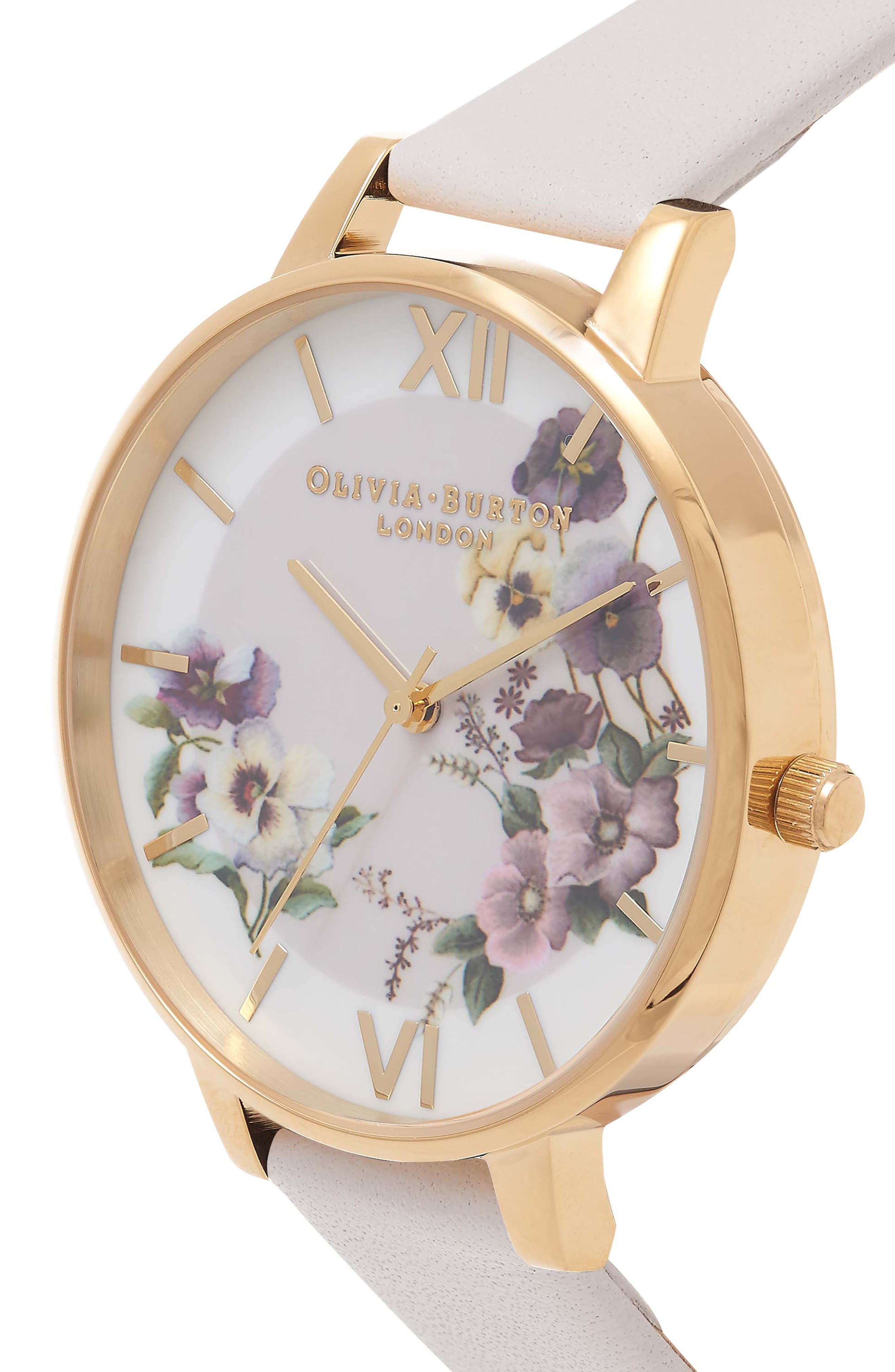 Begin to Blush Leather Strap Watch, 38mm,                             Alternate thumbnail 3, color,                             650