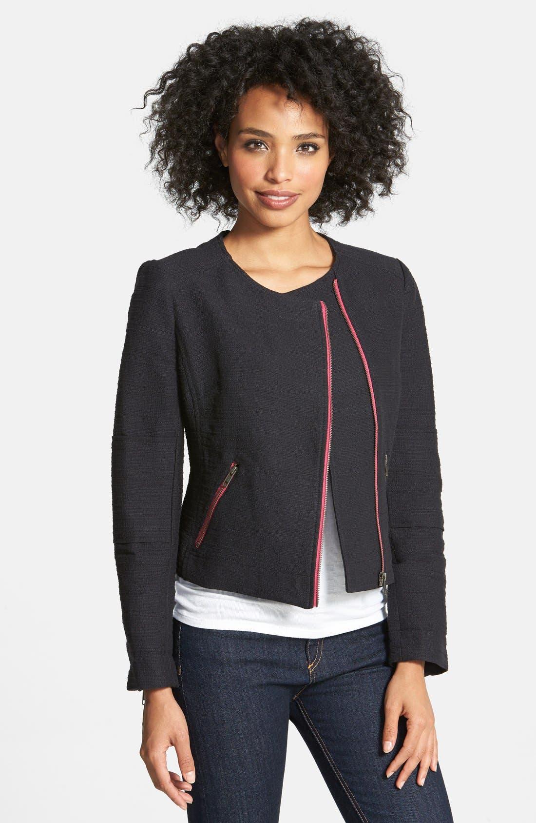 HALOGEN<SUP>®</SUP>,                             Cotton Moto Jacket,                             Main thumbnail 1, color,                             001