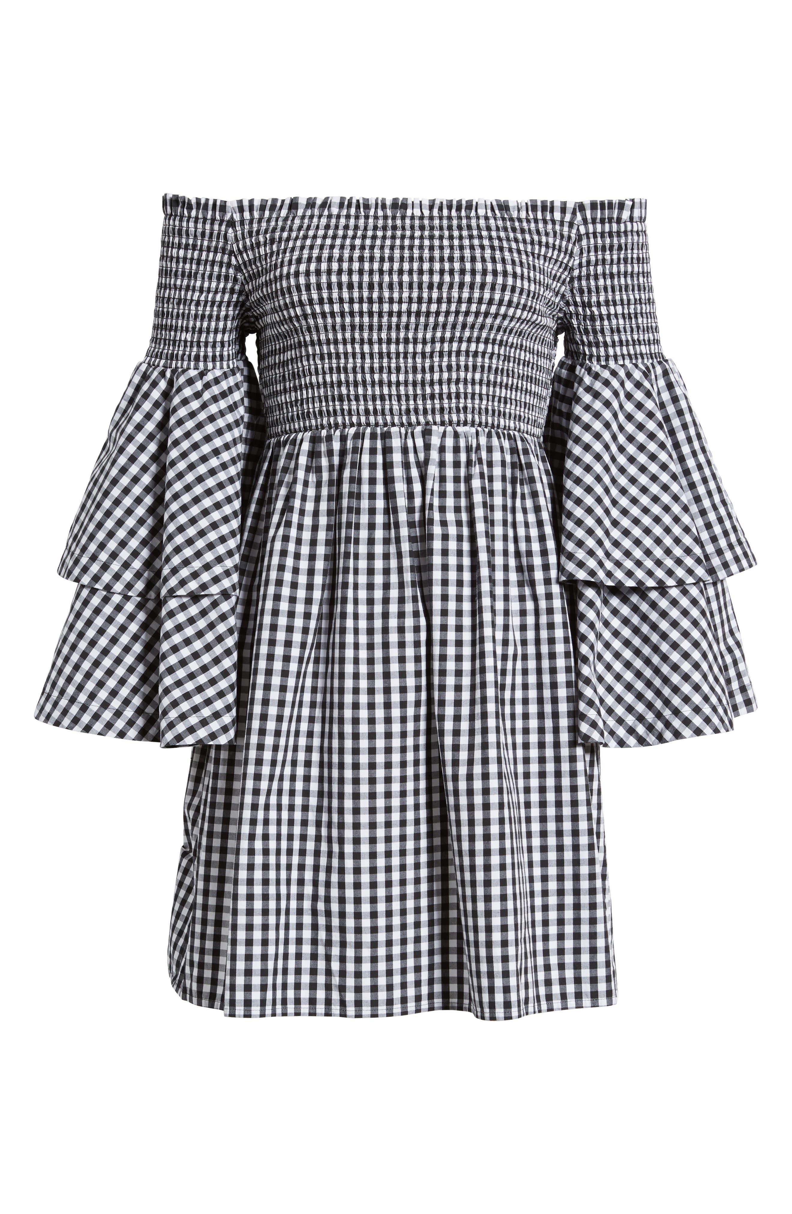 Smocked Off the Shoulder Bell Sleeve Dress,                             Alternate thumbnail 6, color,                             001