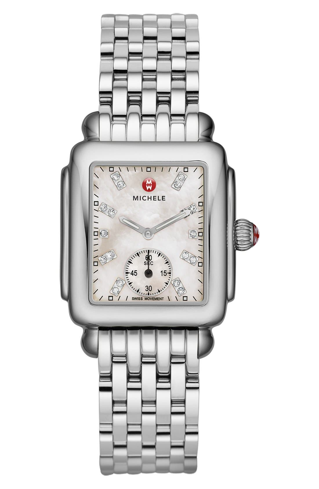 Deco 16 Diamond Dial Watch Head, 29mm x 31mm,                             Alternate thumbnail 3, color,                             SILVER