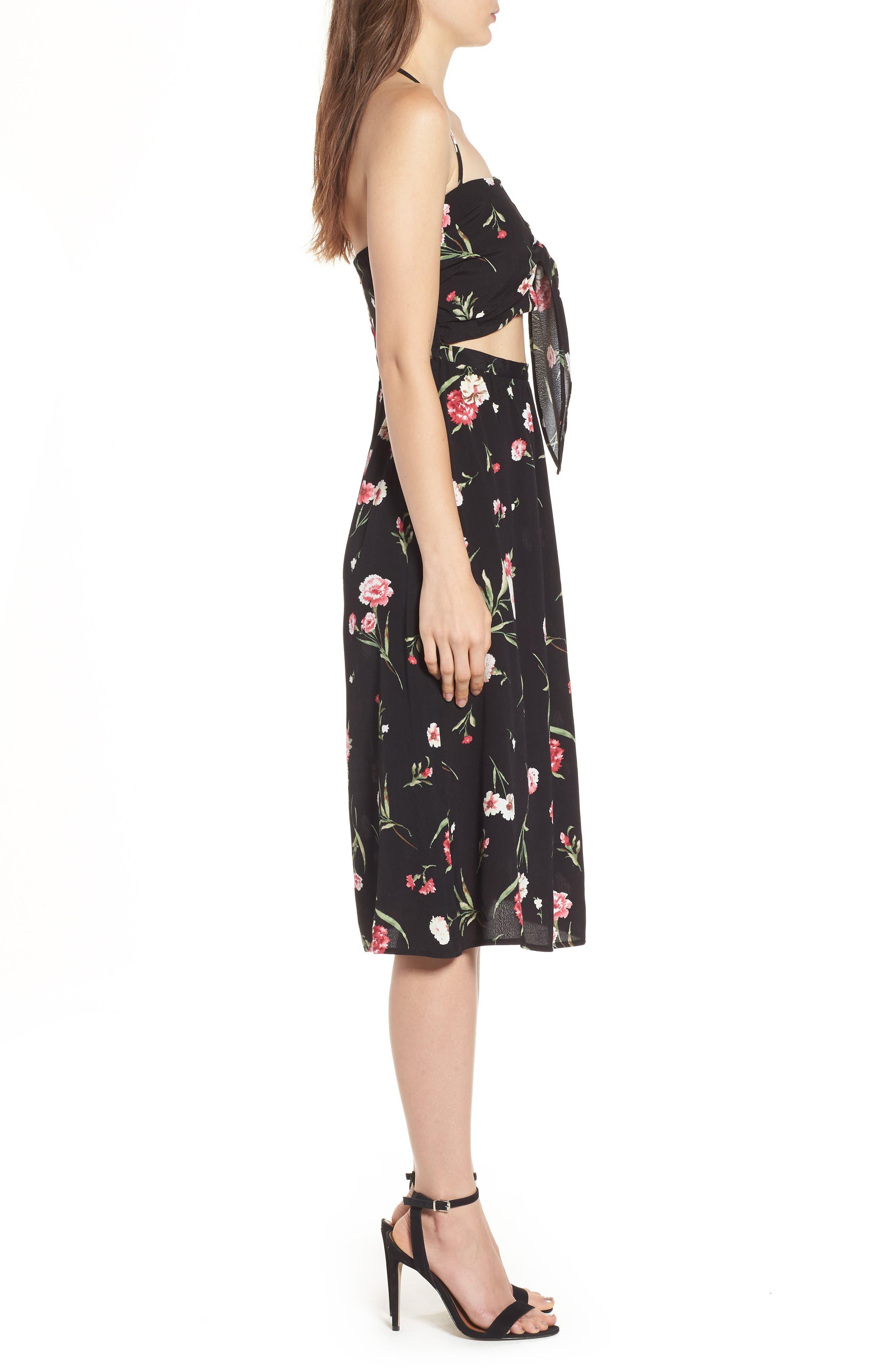 Tie Front Floral Dress,                             Alternate thumbnail 3, color,                             001