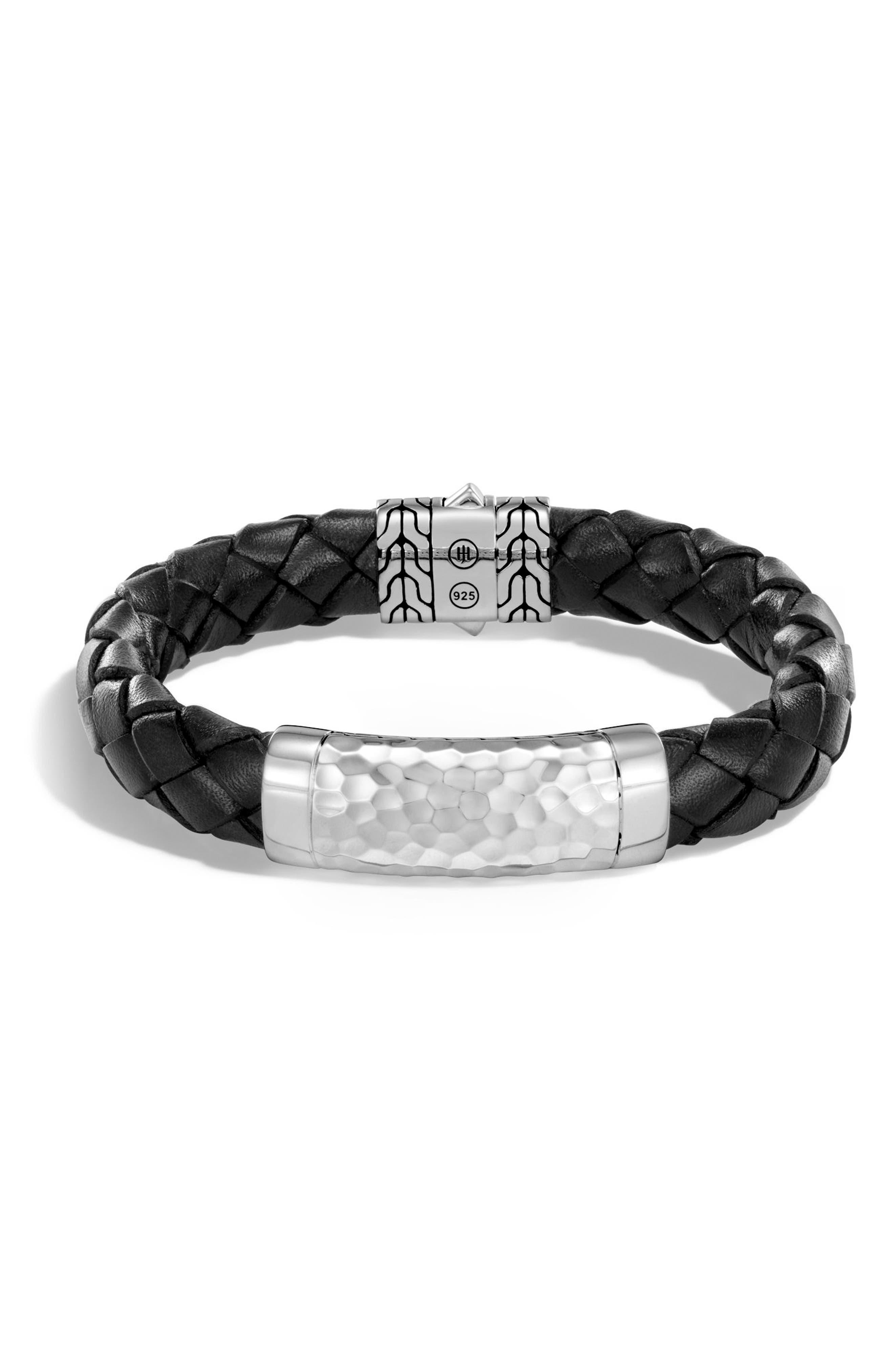 Classic Leather Chain Hammered Silver Large Bracelet,                             Main thumbnail 1, color,                             SILVER/ BLACK