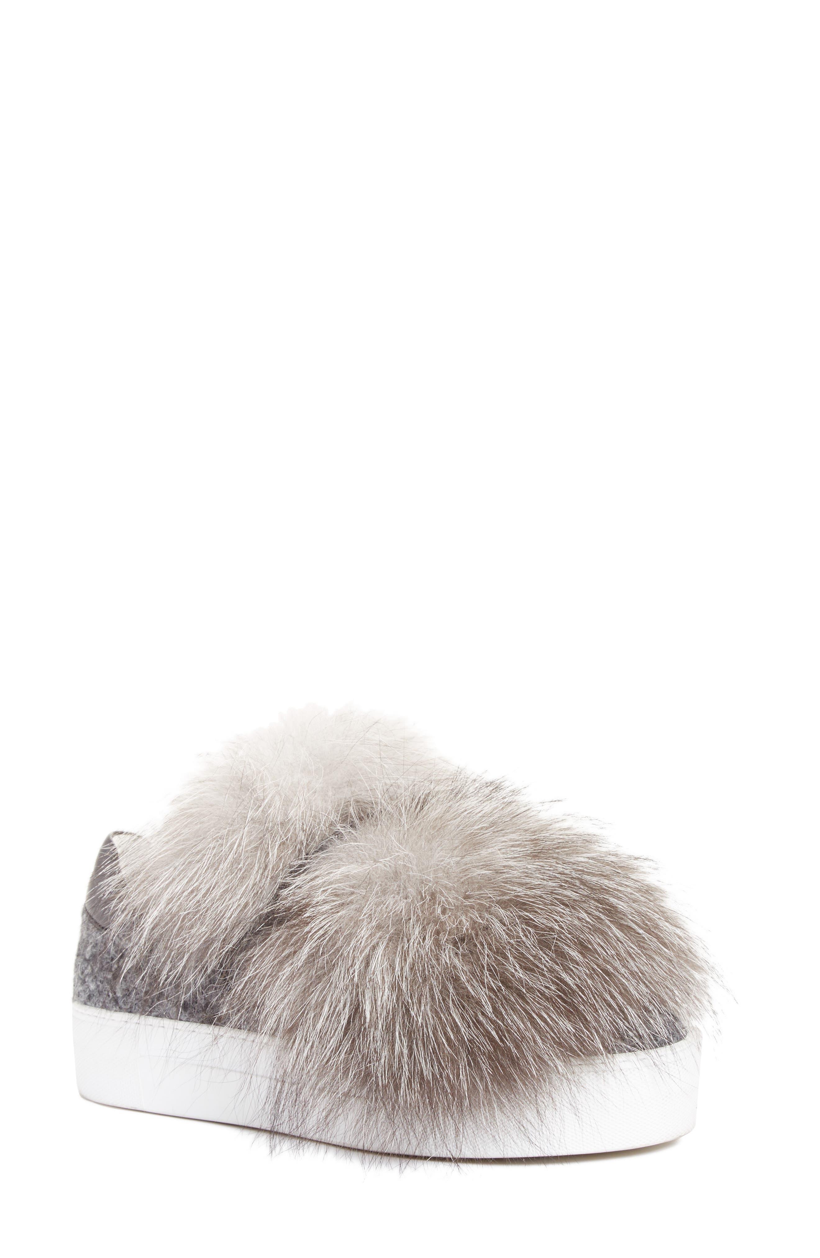 Victoire Genuine Fox Fur Slip-On Sneaker,                             Main thumbnail 1, color,                             020