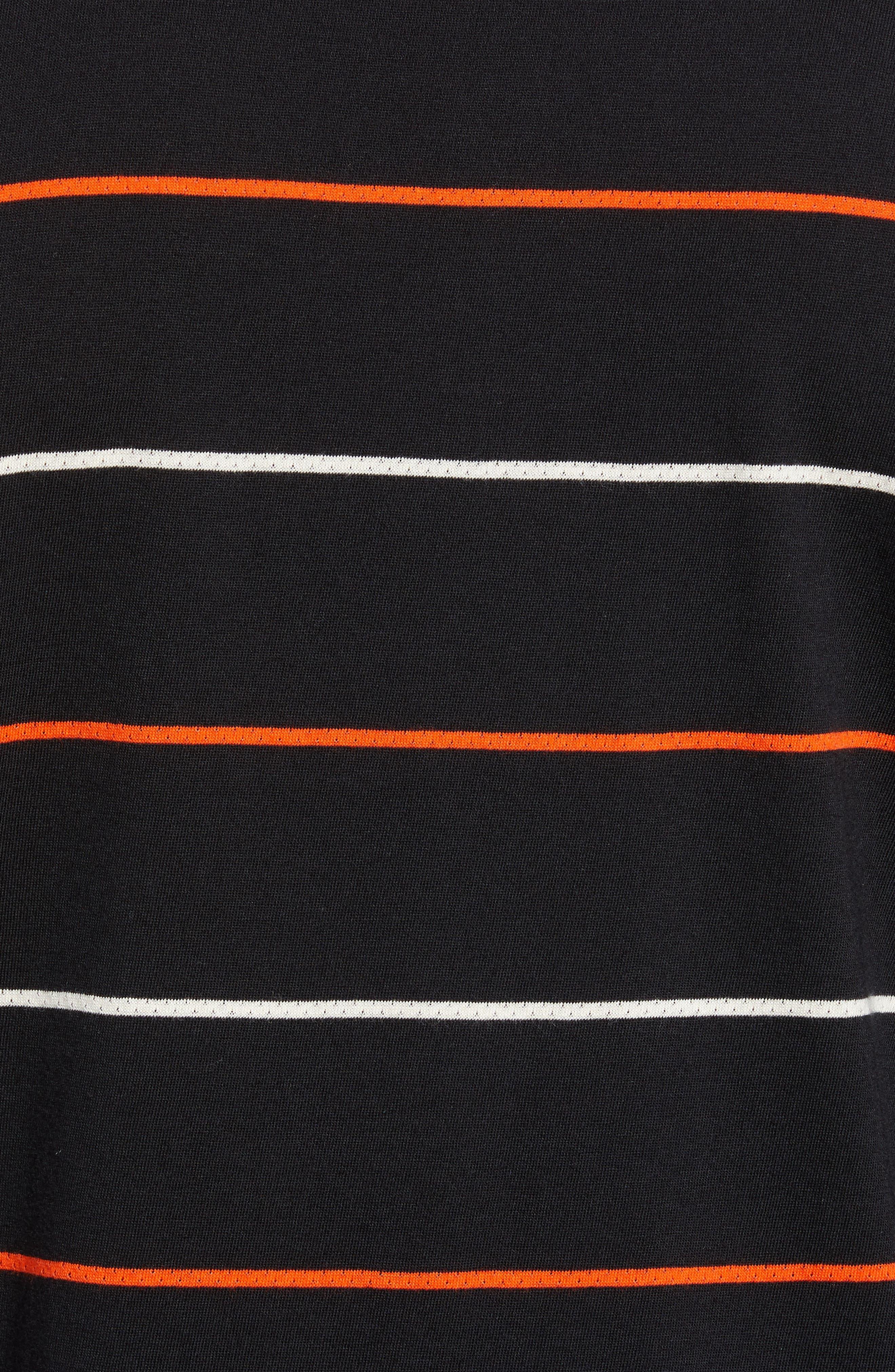 Channels Striped Long Sleeve Polo,                             Alternate thumbnail 5, color,                             BLACK