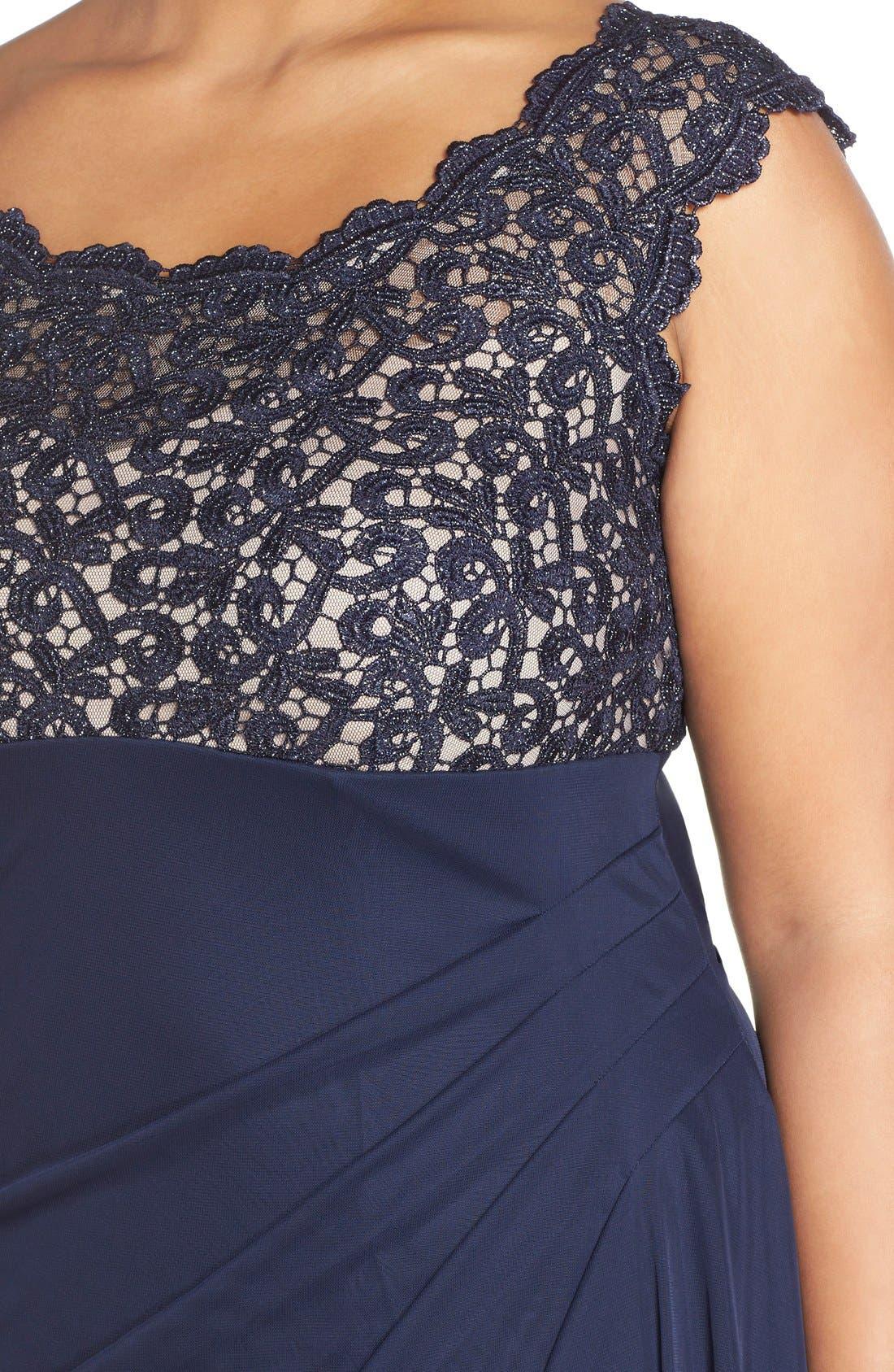 Lace Bodice Empire Gown,                             Alternate thumbnail 4, color,                             400