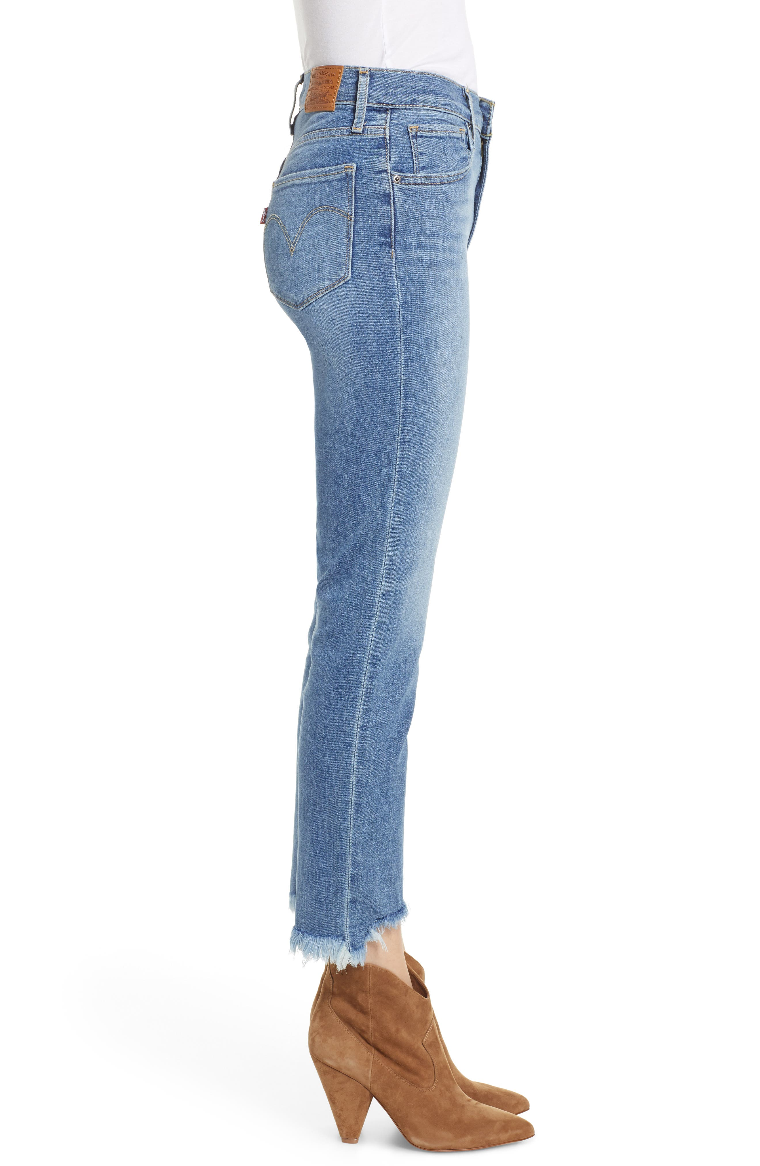 724<sup>™</sup> Ripped High Waist Raw Edge Crop Jeans,                             Alternate thumbnail 3, color,                             420