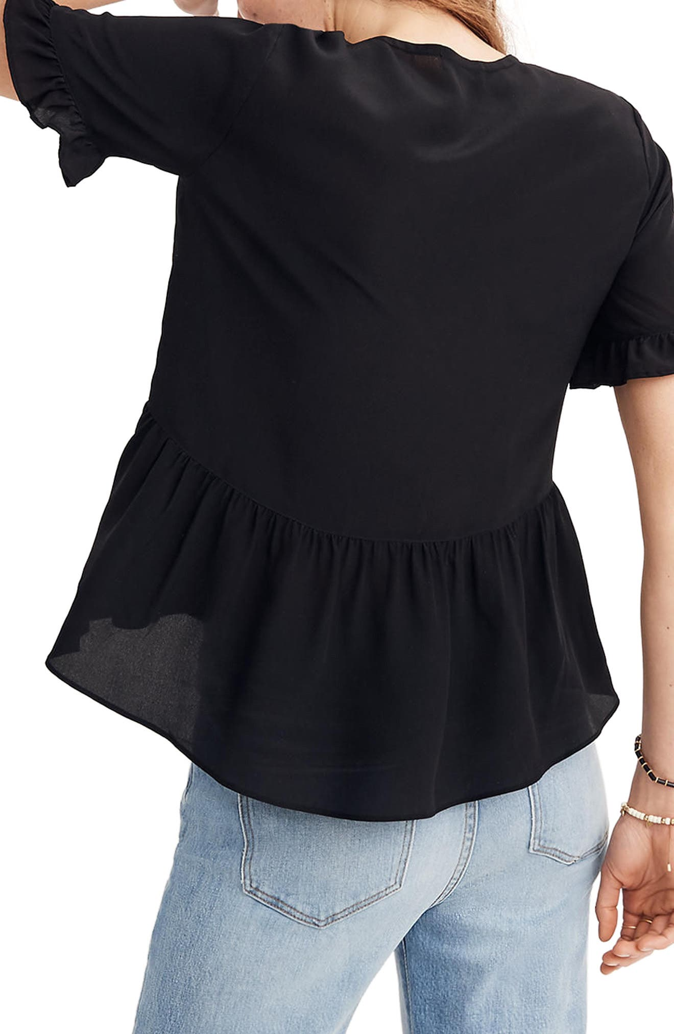 Studio Ruffle Hem Silk Top,                             Alternate thumbnail 2, color,