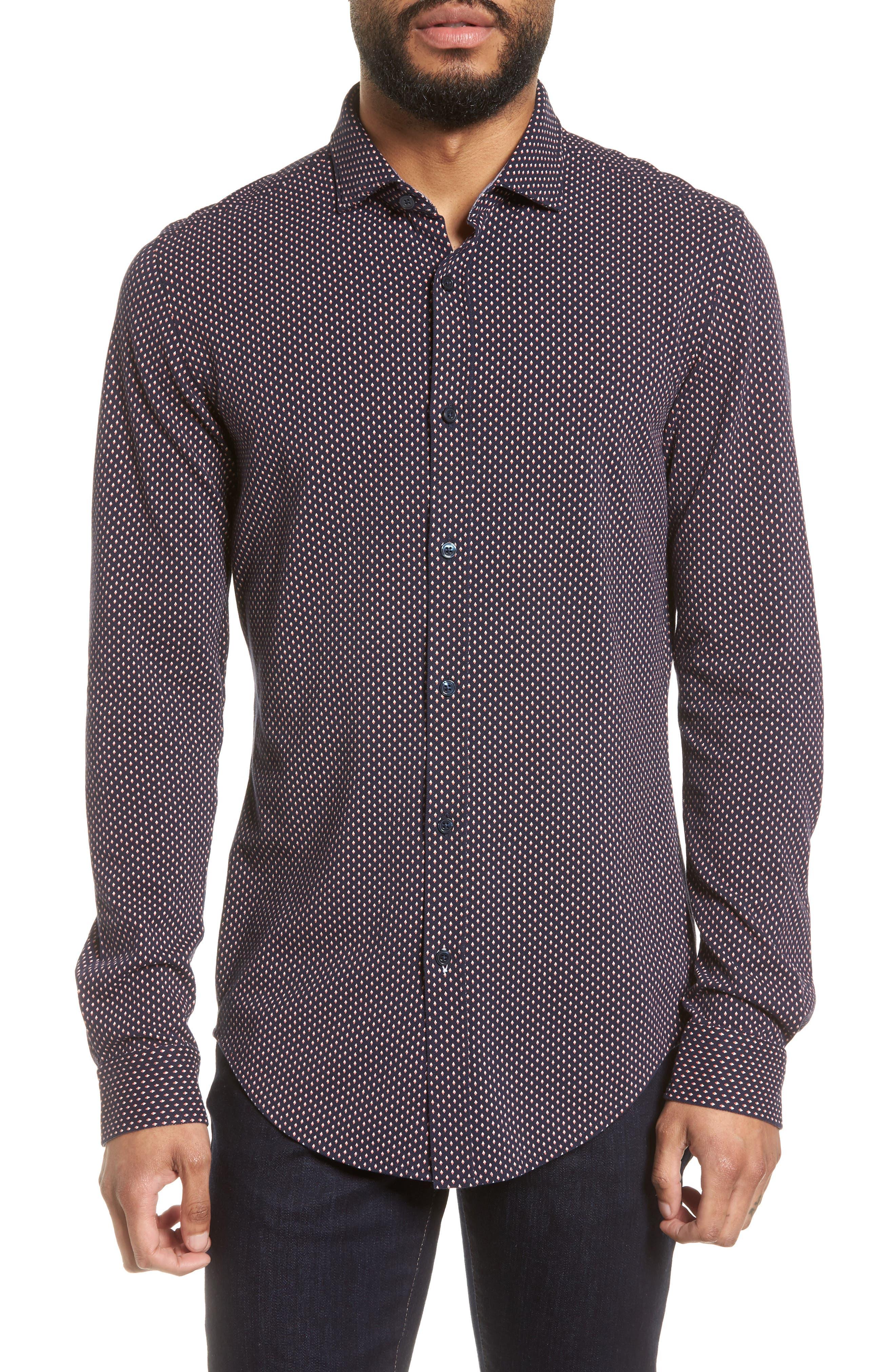 BOSS Ridley Print Sport Shirt, Main, color, 410