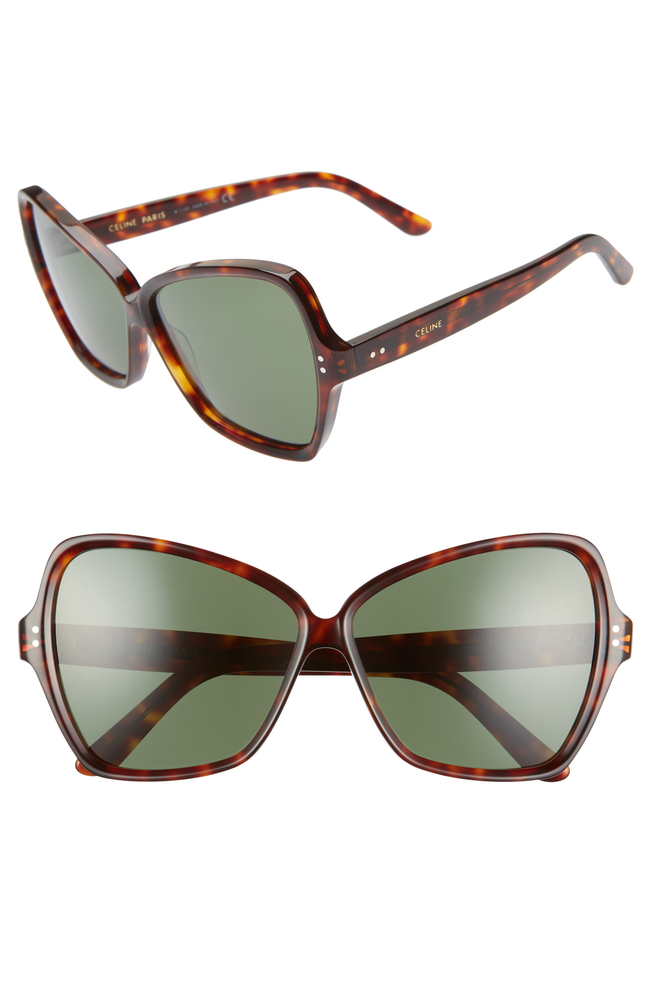 a232842819 Celine 64Mm Oversize Butterfly Sunglasses - Dark Havana  Green ...
