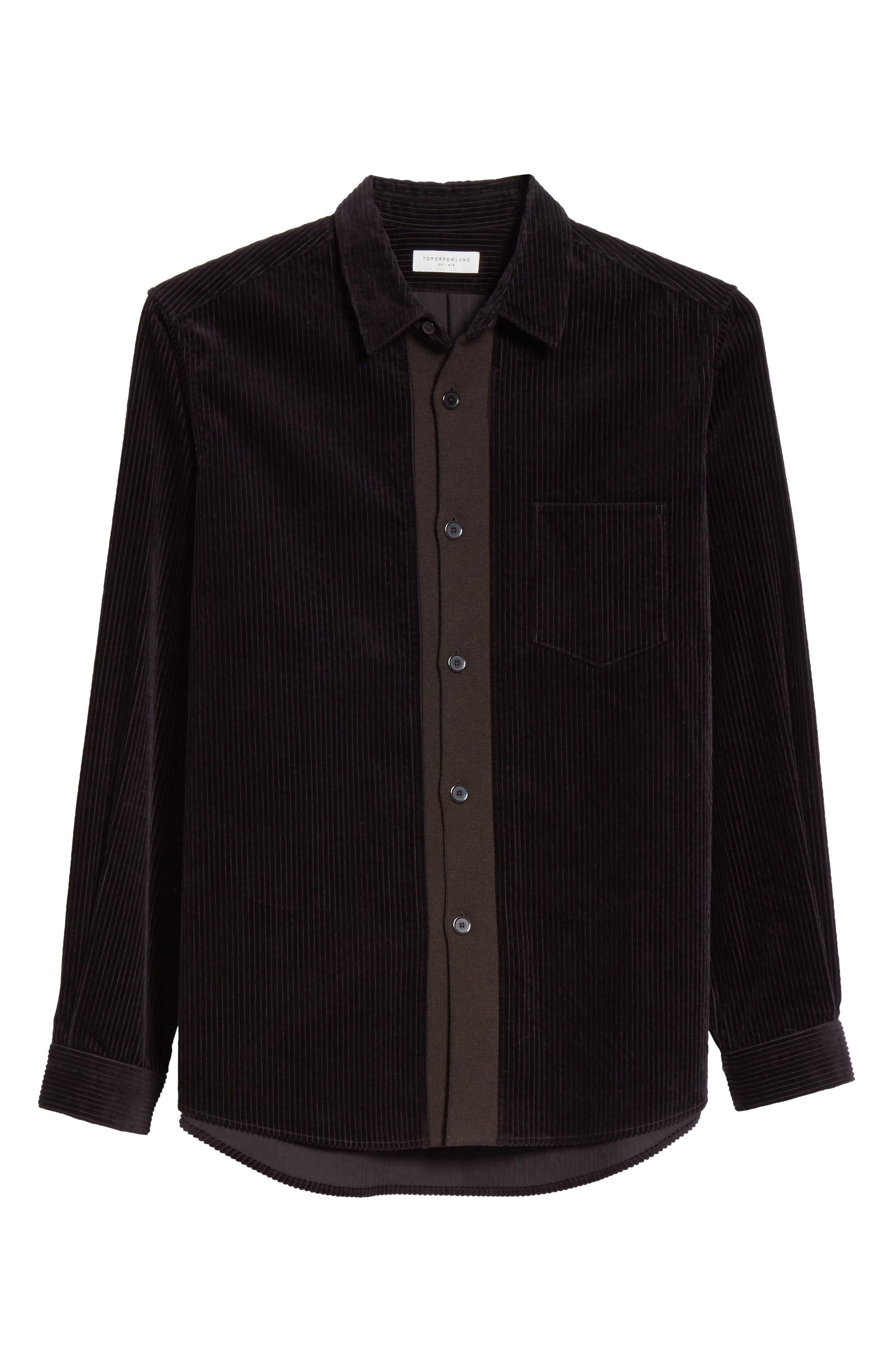 TOMORROWLAND,                             Corduroy Shirt,                             Alternate thumbnail 6, color,                             001
