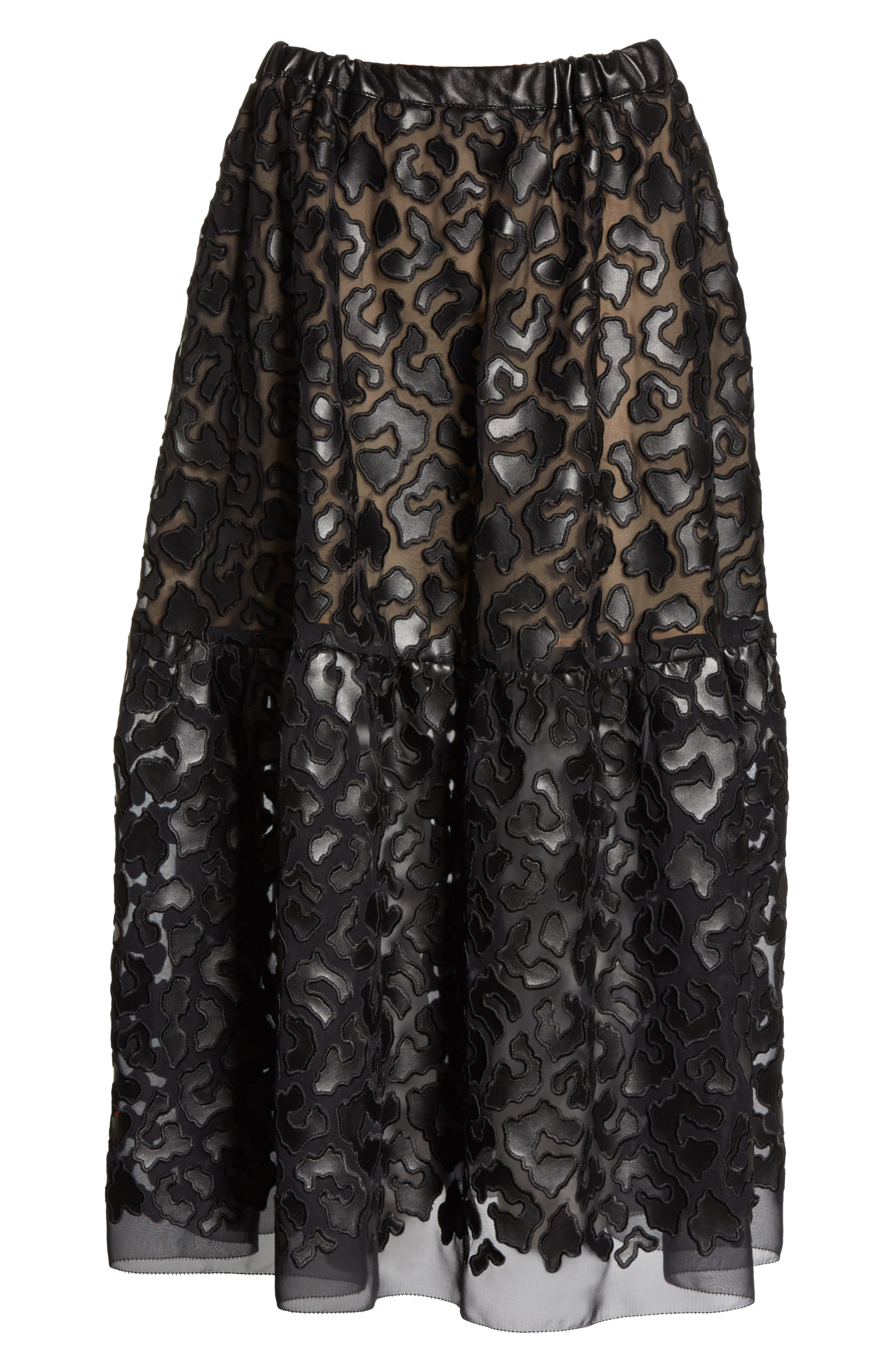 Faux Leather Leopard Print Skirt,                             Alternate thumbnail 6, color,