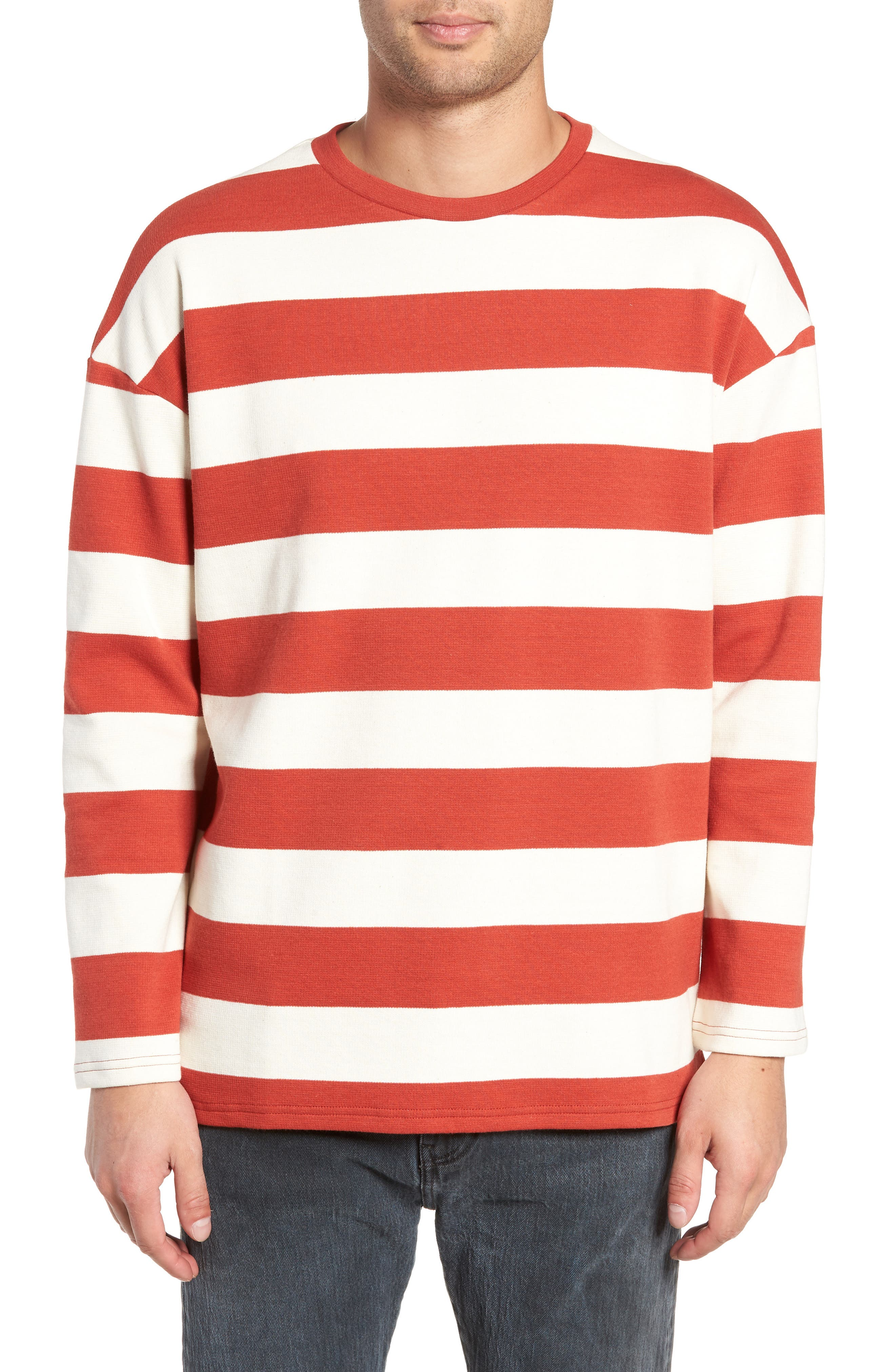 Stripe Crewneck Sweatshirt,                             Main thumbnail 1, color,                             ORANGE