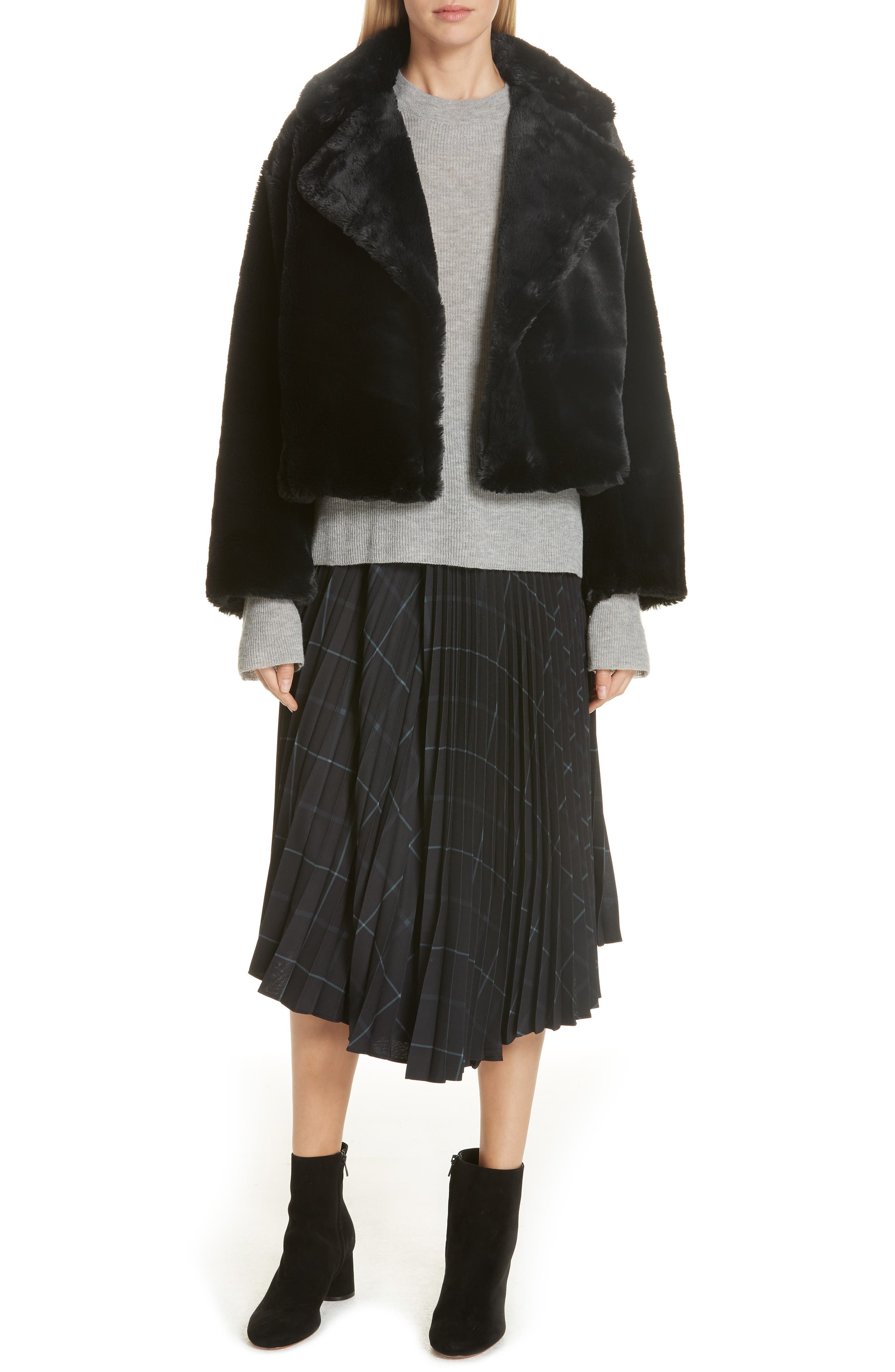 Plush Faux Fur Coat,                             Alternate thumbnail 8, color,                             IRON