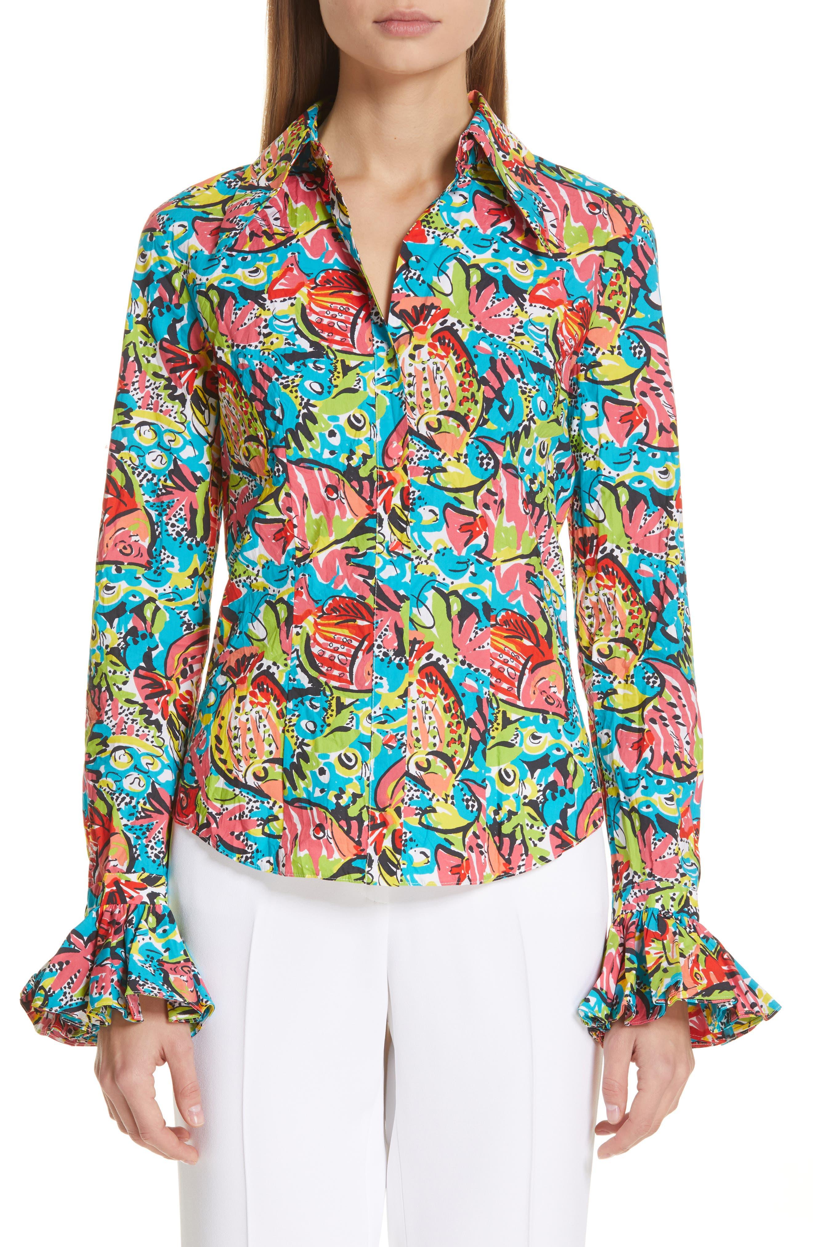 Crushed Print Bell Sleeve Shirt, Main, color, BLACK MULTI