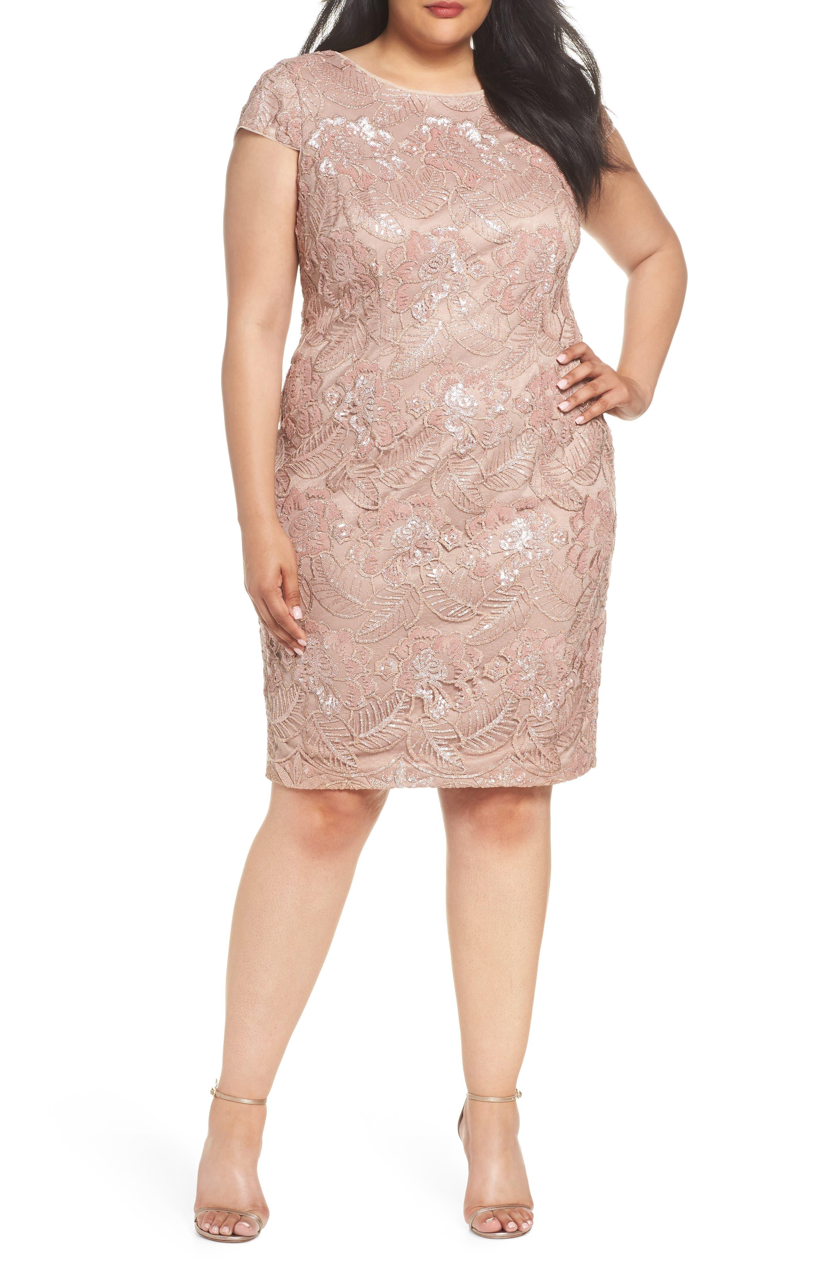 Sequin Lace Cocktail Dress,                             Main thumbnail 1, color,                             ROSE GOLD