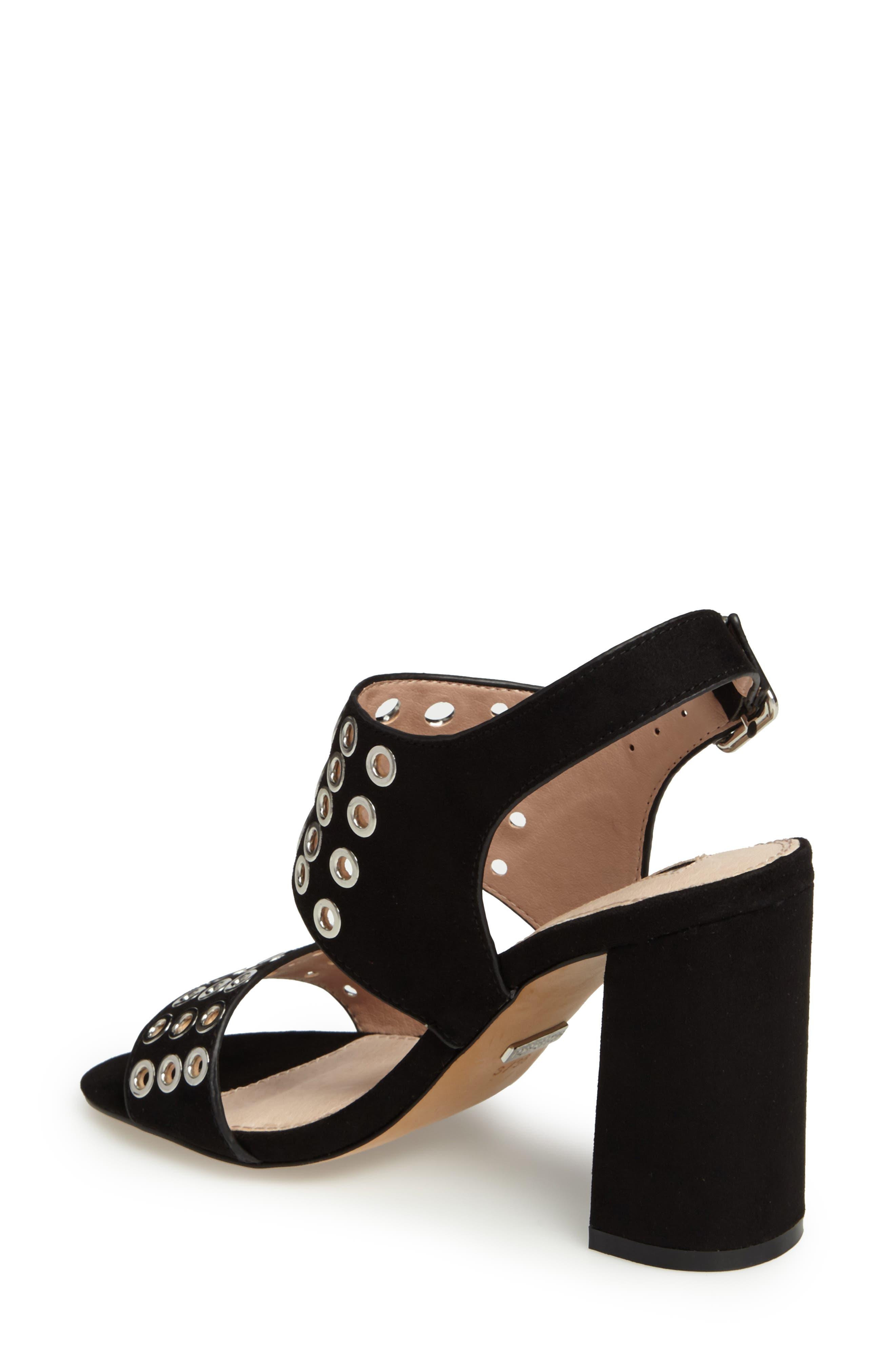 Nadia Rivet Block Heel Sandal,                             Alternate thumbnail 2, color,                             001