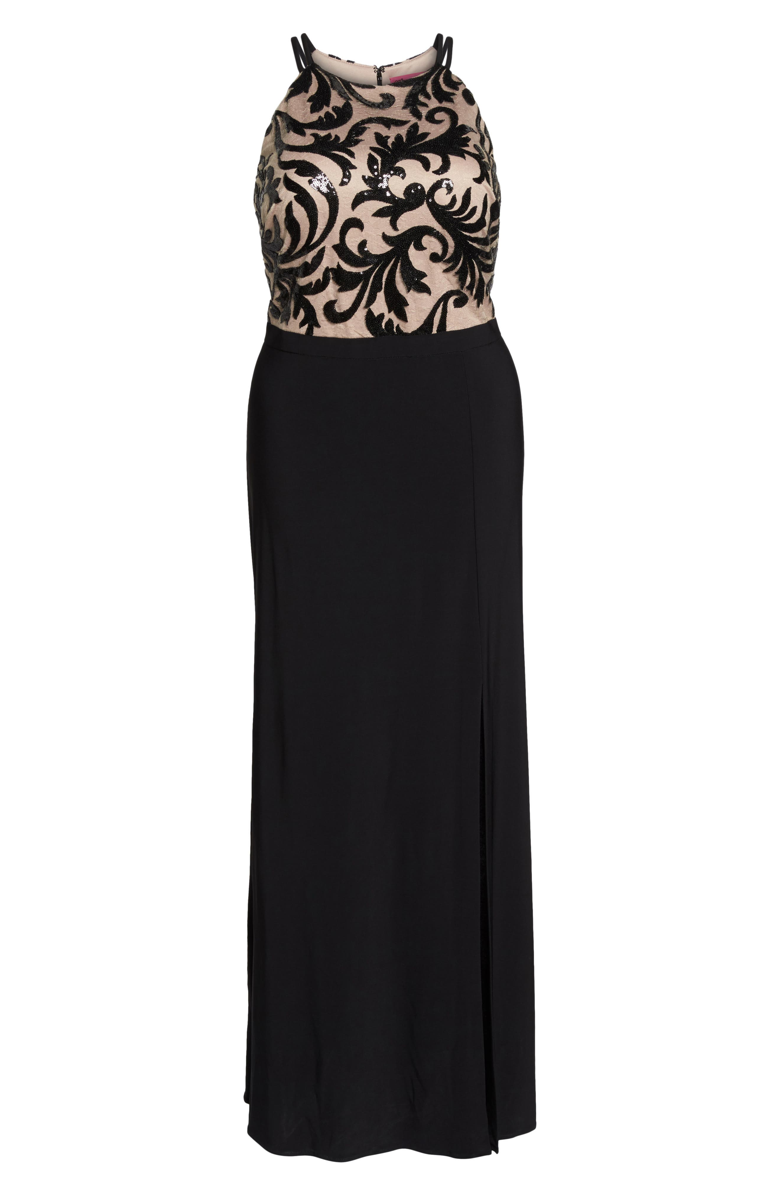 Sequin Bodice Gown,                             Alternate thumbnail 6, color,                             BLACK/ NUDE