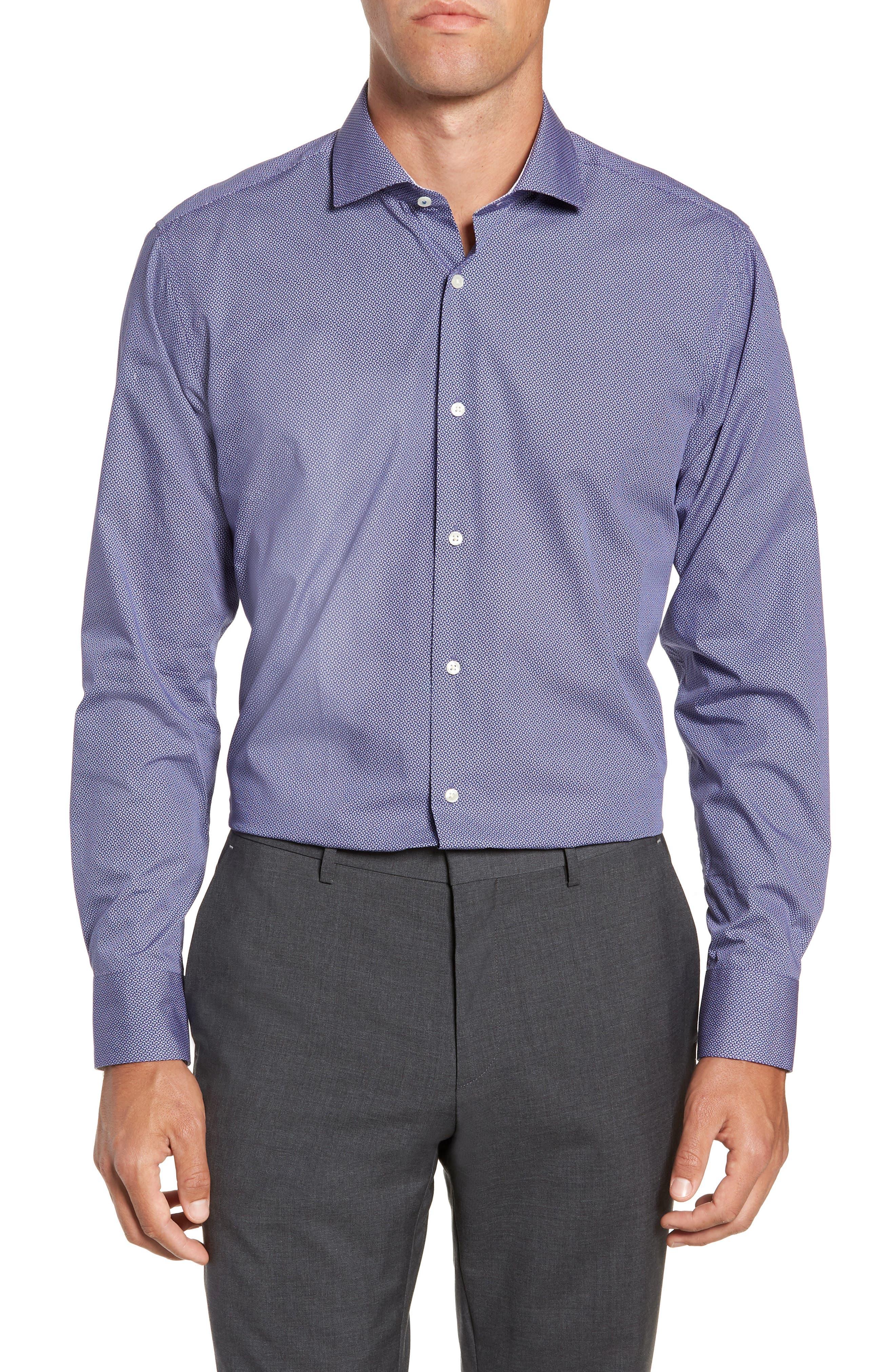 Strame Slim Fit Geometric Dress Shirt,                         Main,                         color, 510
