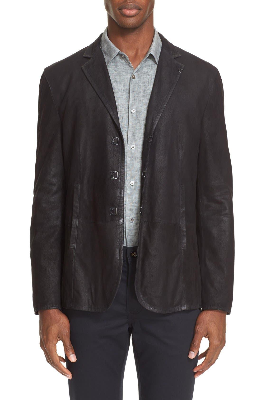 Slim Fit Leather Sport Coat,                         Main,                         color, 001