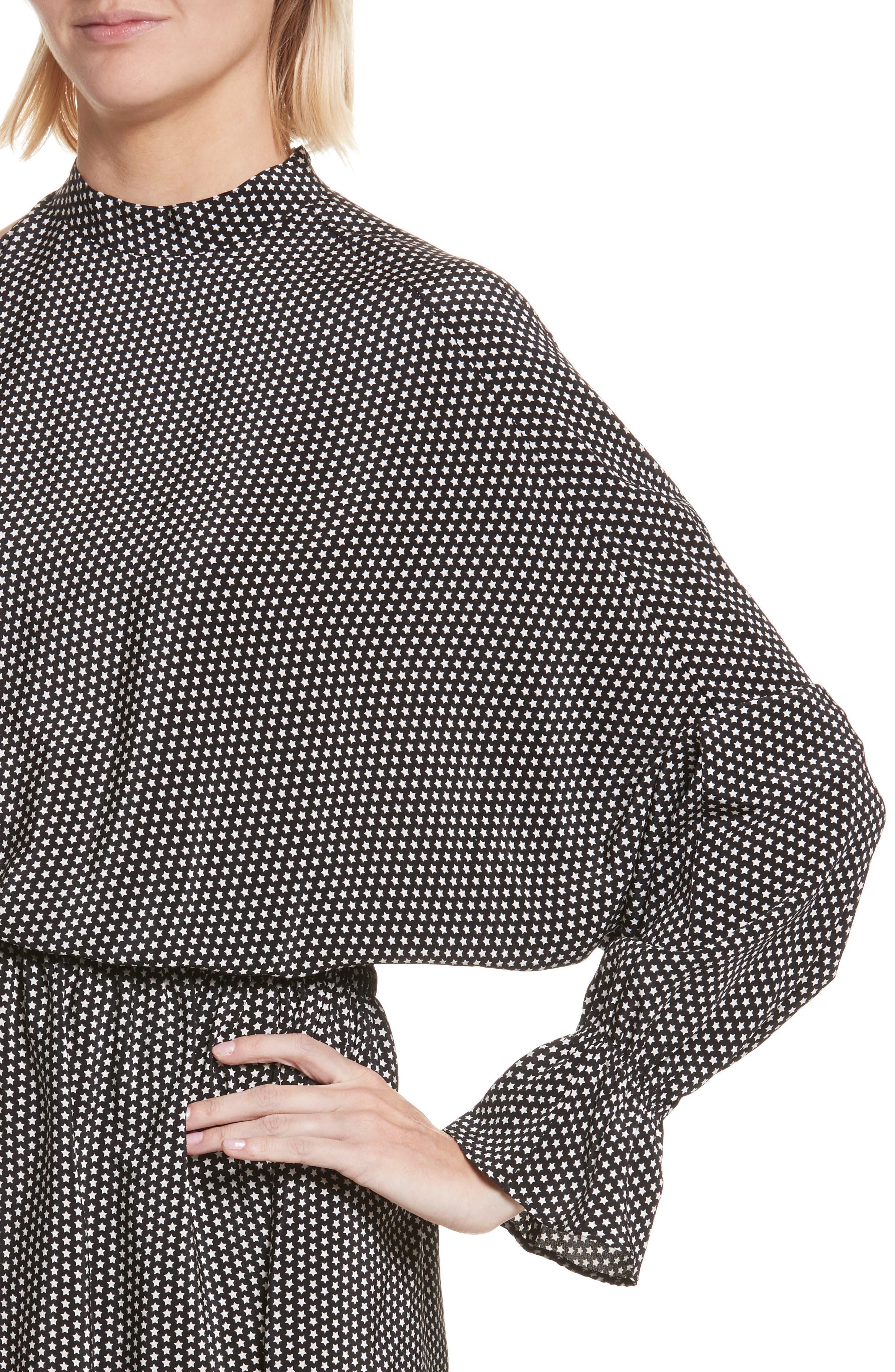 Star Print Cold Shoulder Silk Dress,                             Alternate thumbnail 4, color,                             001