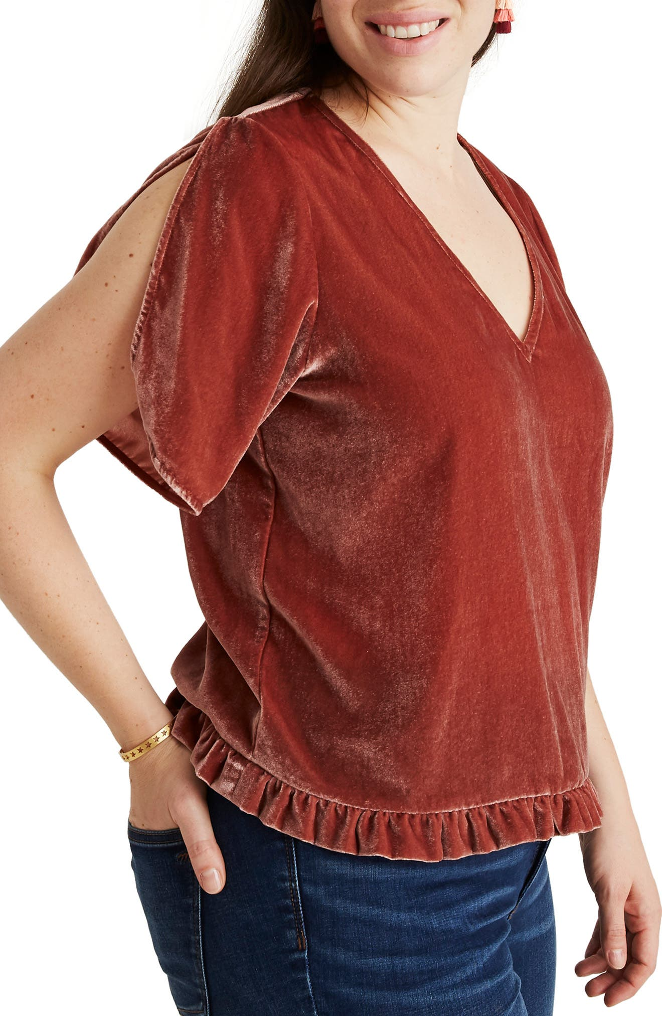 Ruffle Tulip Sleeve Velvet Top,                             Alternate thumbnail 8, color,                             AFTERGLOW RED