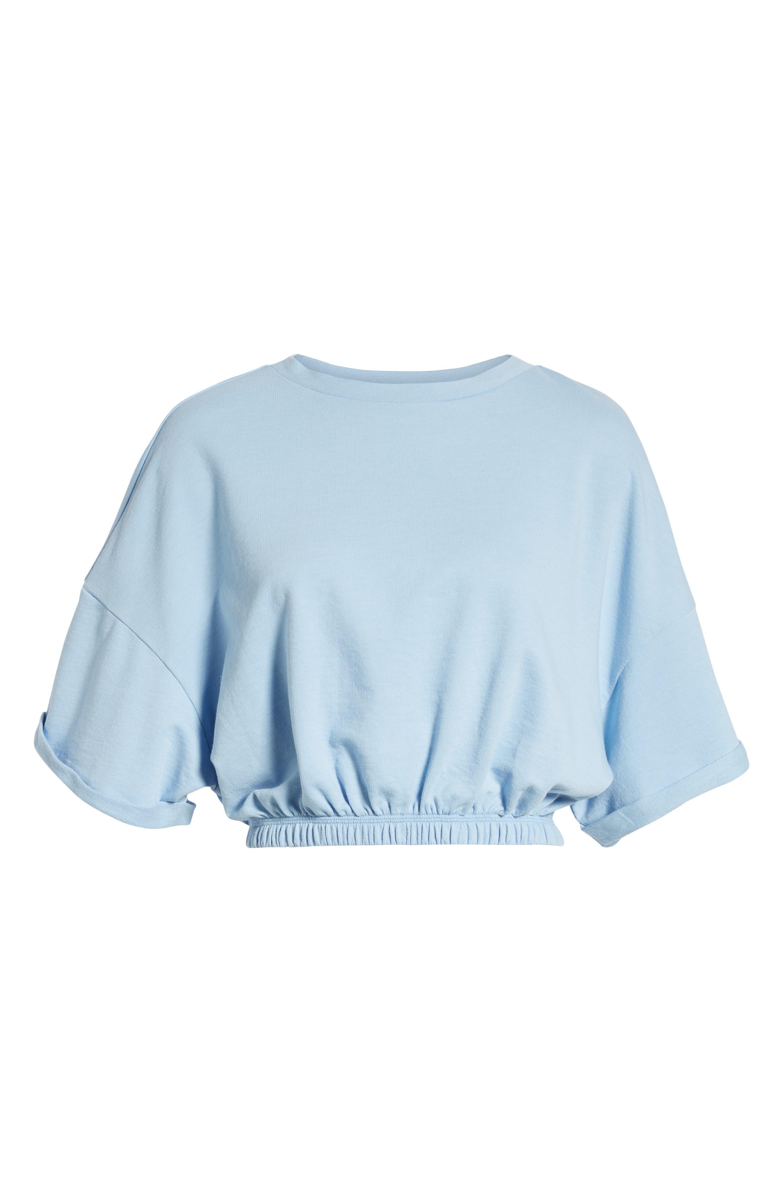BP.,                             Vintage Wash Crop Short Sleeve Sweatshirt,                             Alternate thumbnail 6, color,                             BLUE PLACID