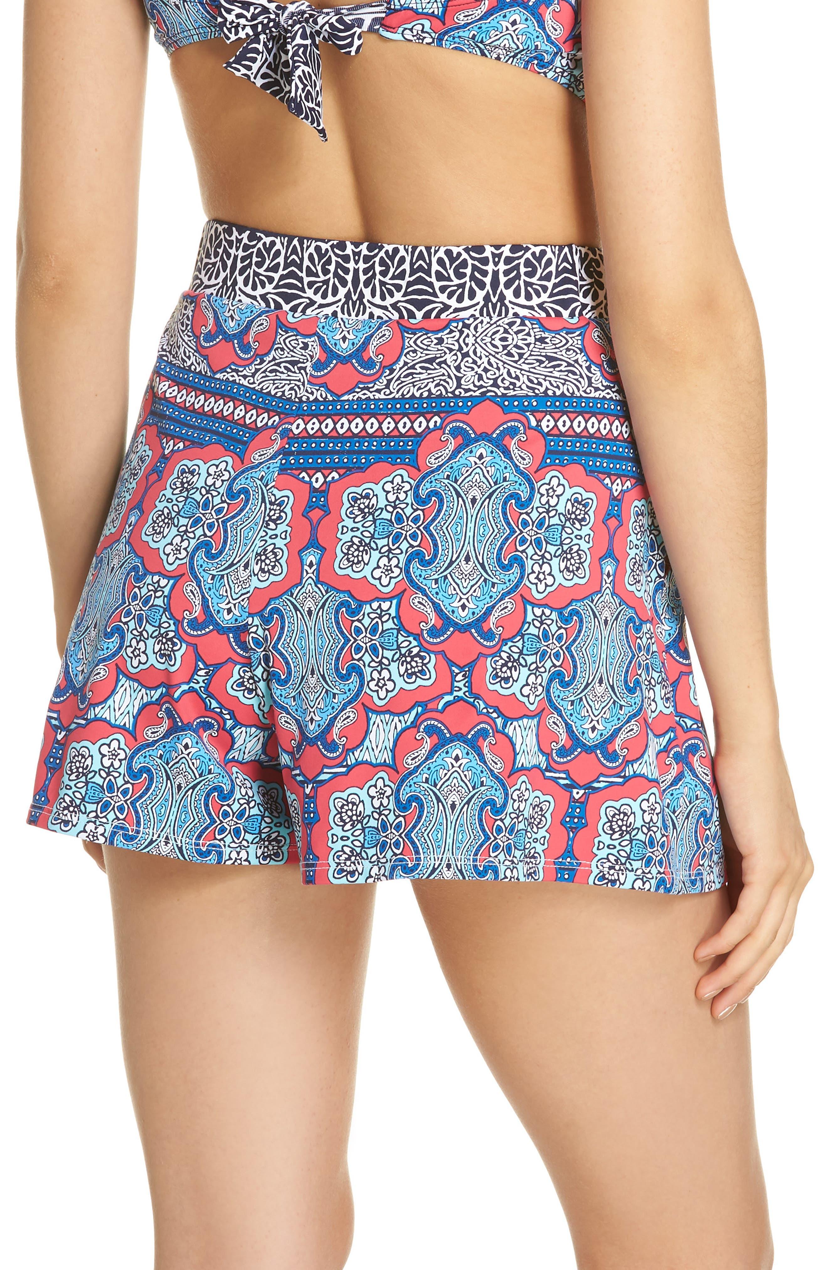 Riviera Tiles Cover-Up Shorts,                             Alternate thumbnail 2, color,                             CERISE