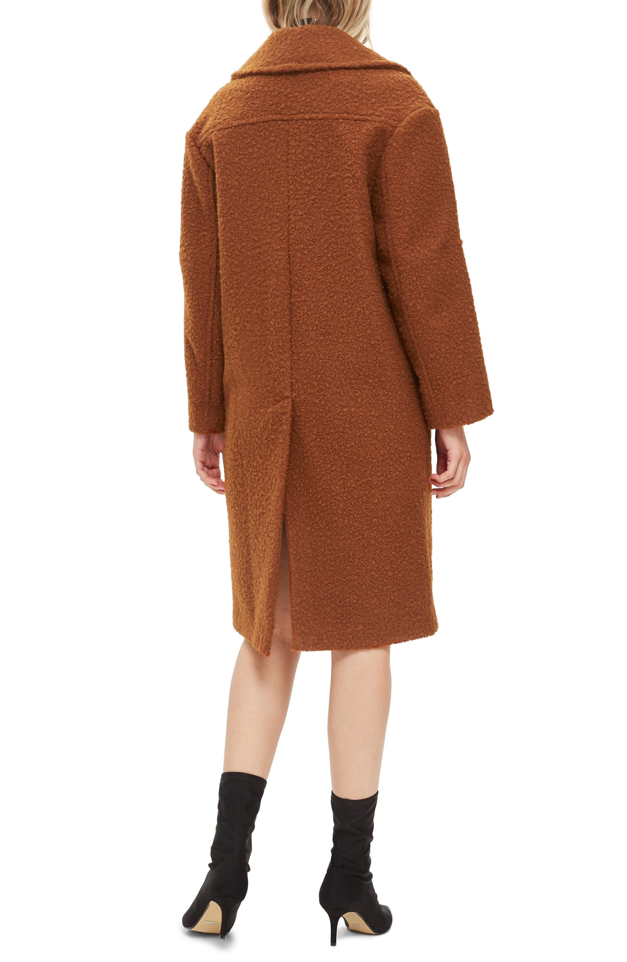 Bouclé Button Front Coat,                             Alternate thumbnail 2, color,                             BROWN