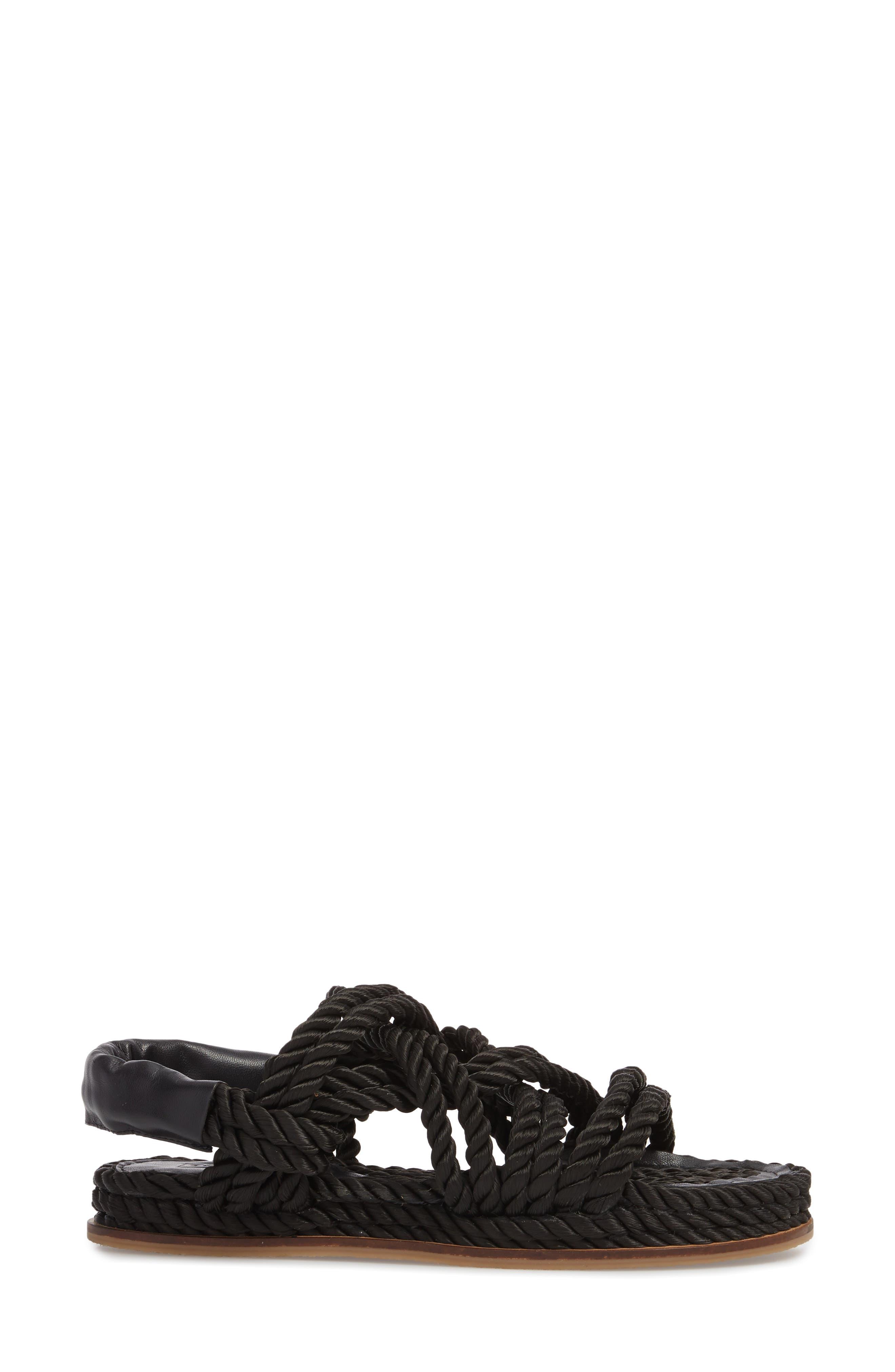 Fiesta Rope Flat Sandal,                             Alternate thumbnail 3, color,                             001
