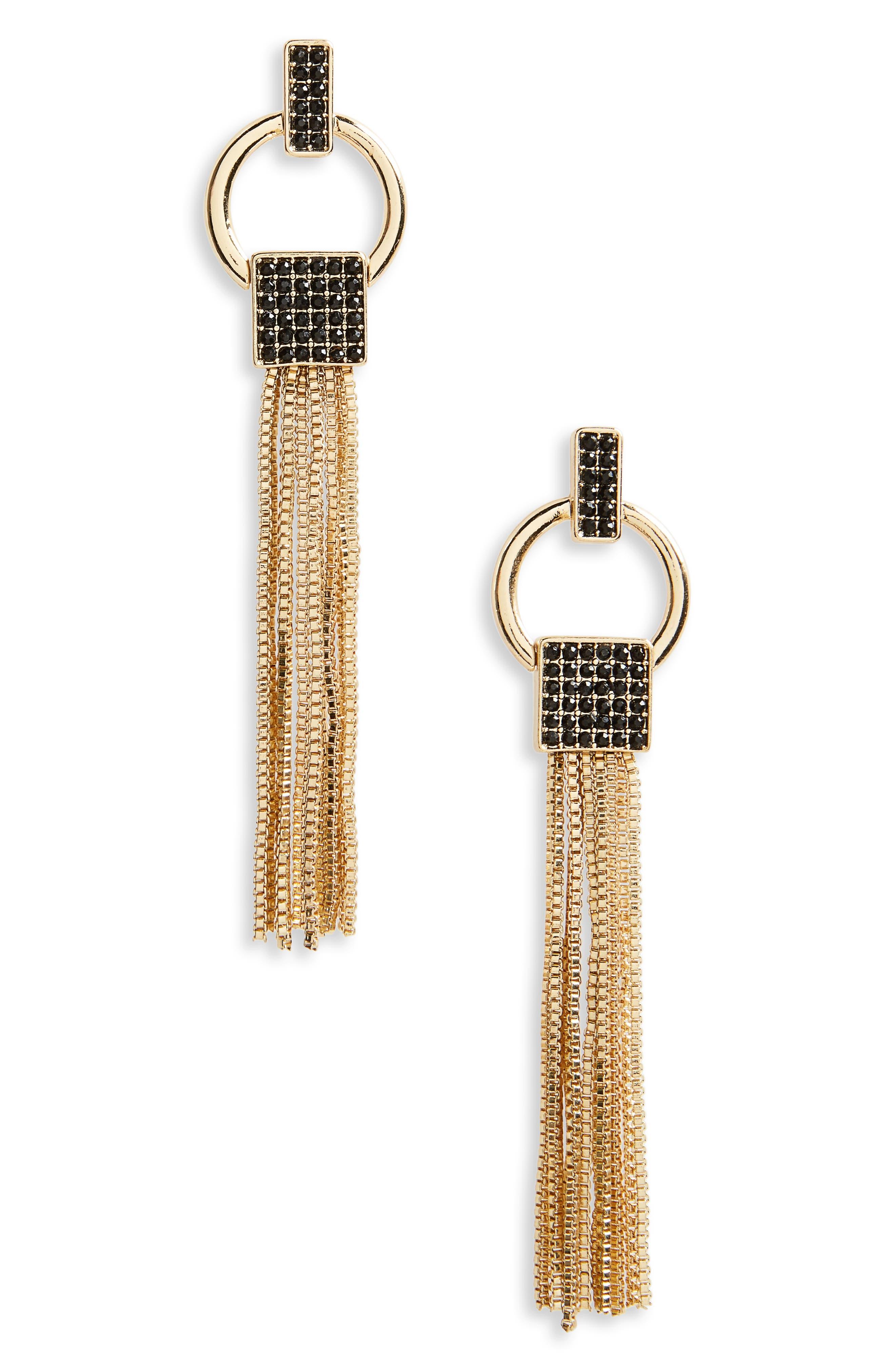 Chain Tassel Doorknocker Earrings,                             Main thumbnail 1, color,                             001
