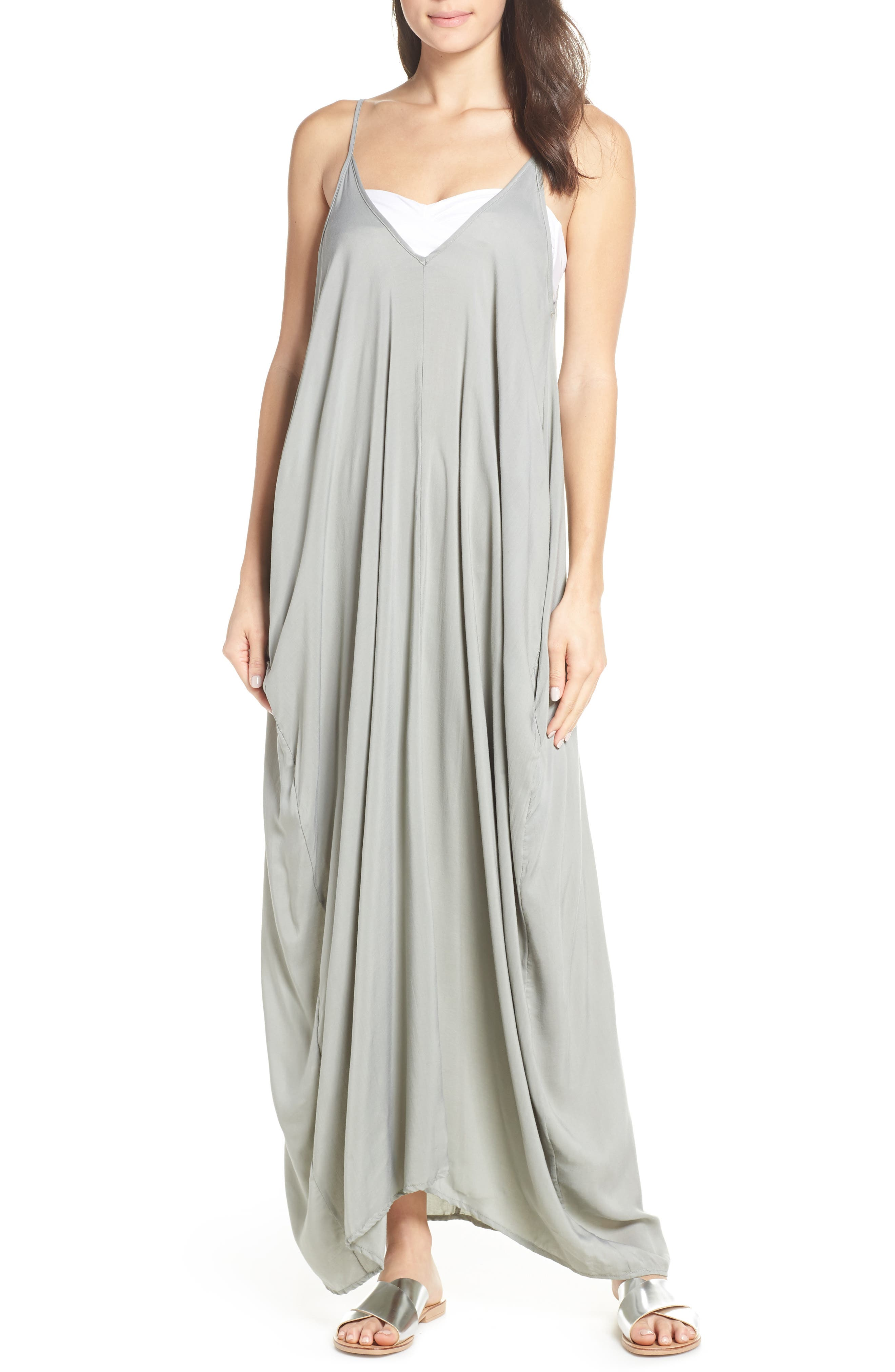Elan V-Back Cover-Up Maxi Dress, Green