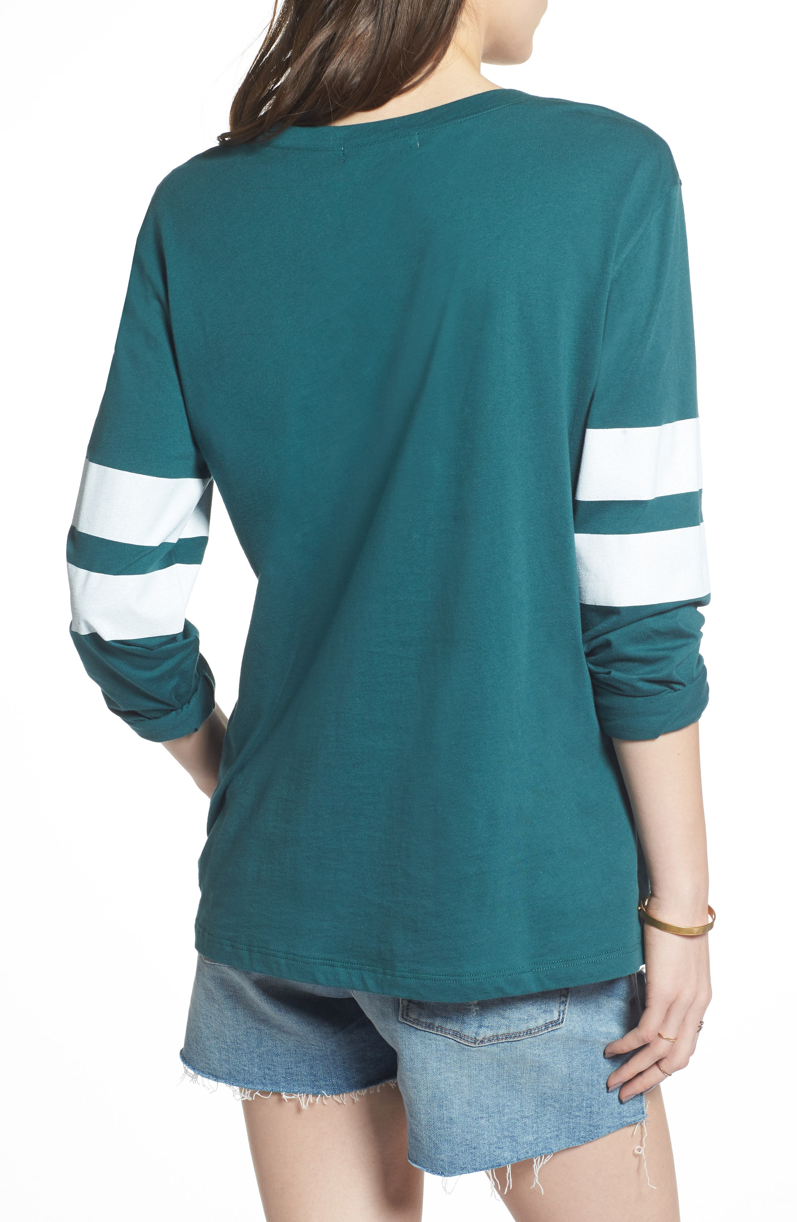 Varsity Stripe Cotton Tee,                             Alternate thumbnail 32, color,