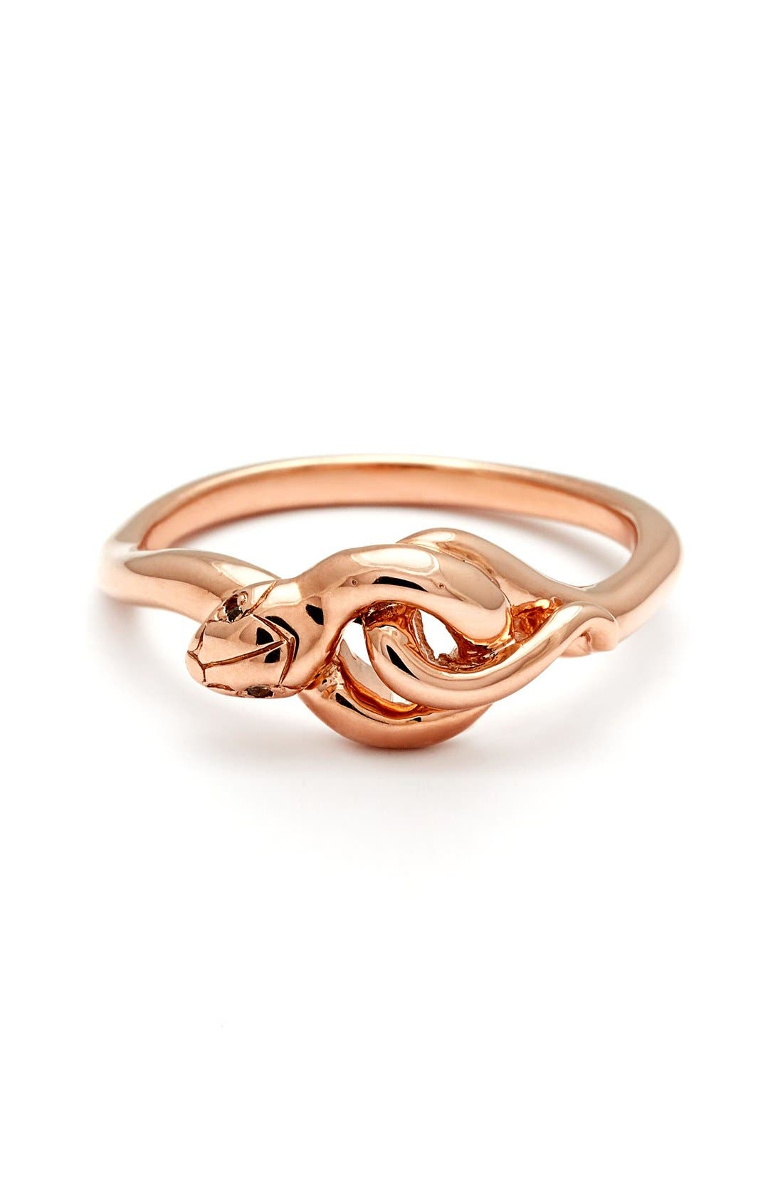 'Small Serpent' Rose Gold Ring,                             Main thumbnail 1, color,                             ROSE/ GOLD/ CHAMPAGNE