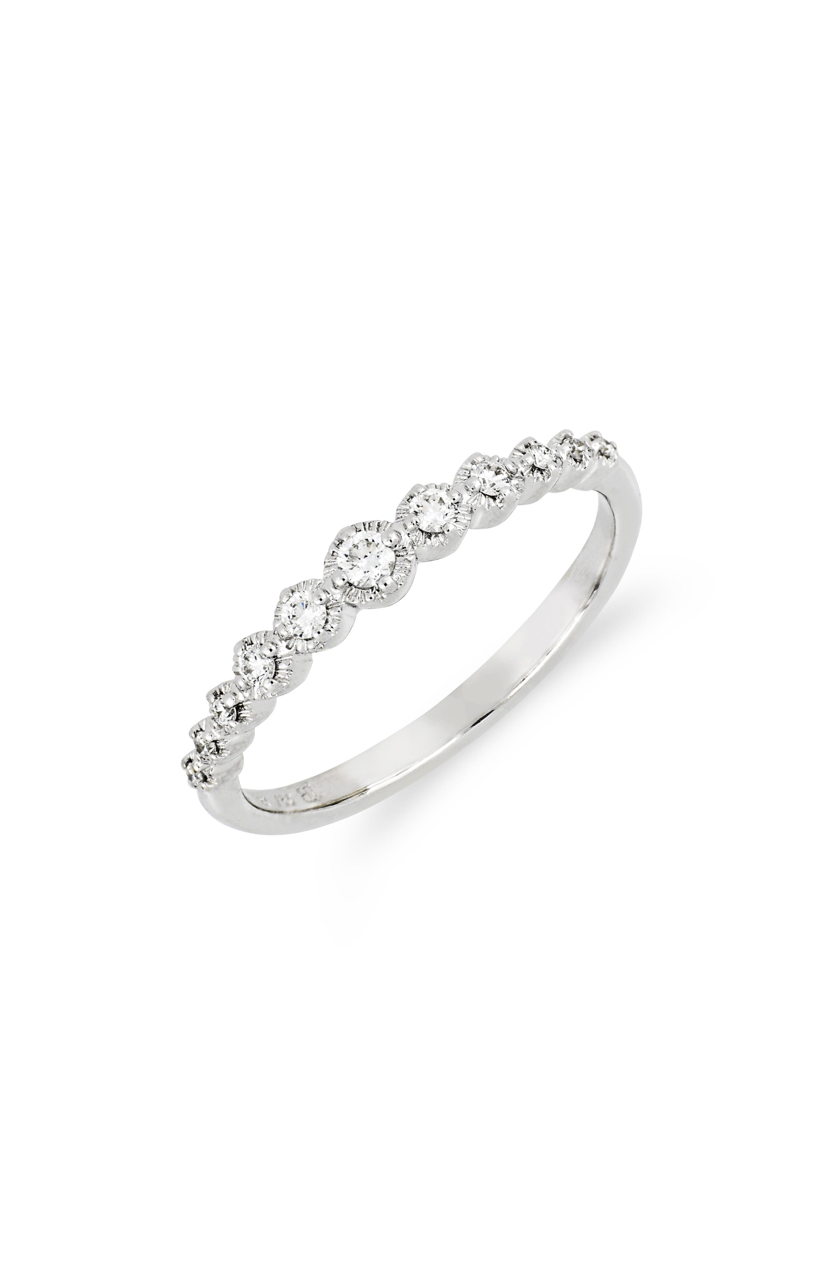 Mila Large Hammered Diamond Stack Ring,                             Main thumbnail 1, color,                             WHITE GOLD
