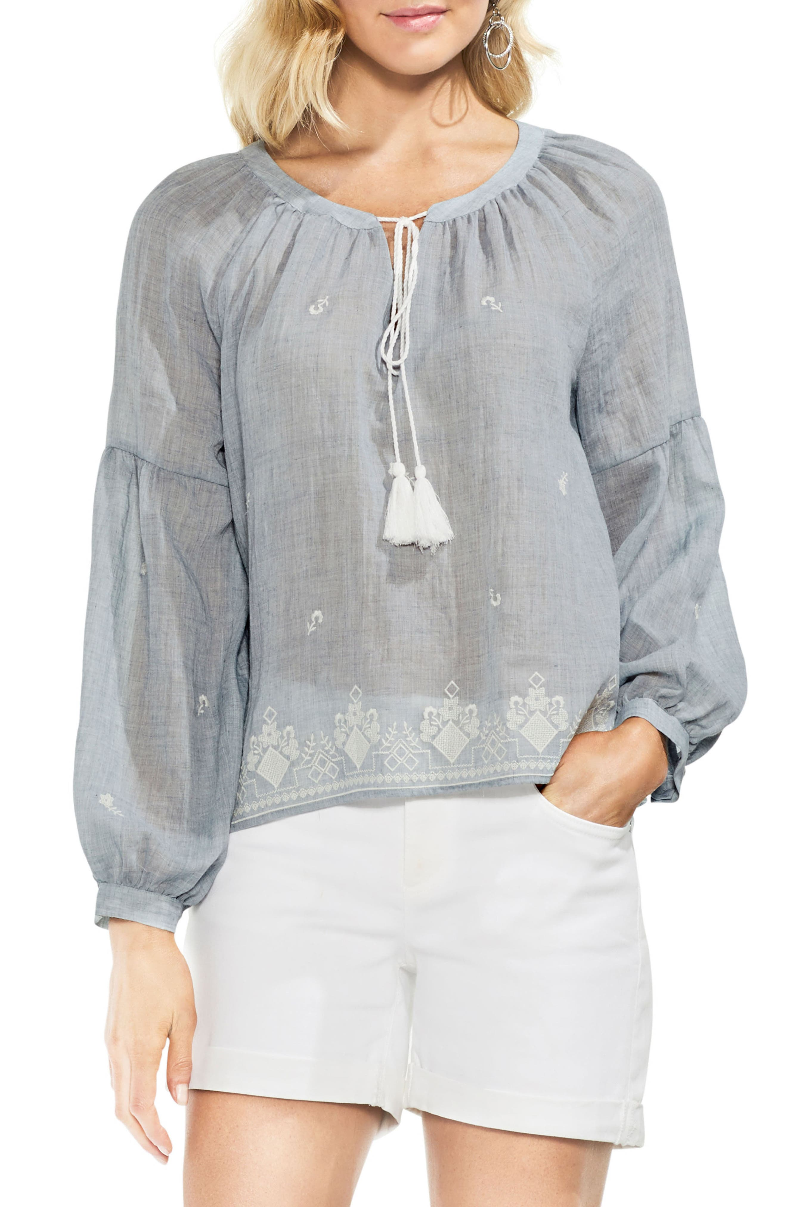 Mélange Needlepoint Gauze Peasant Blouse,                         Main,                         color,