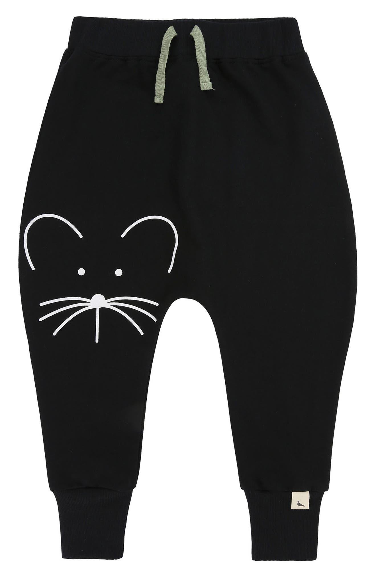Mouse Face Organic Cotton Harem Pants,                         Main,                         color, 001