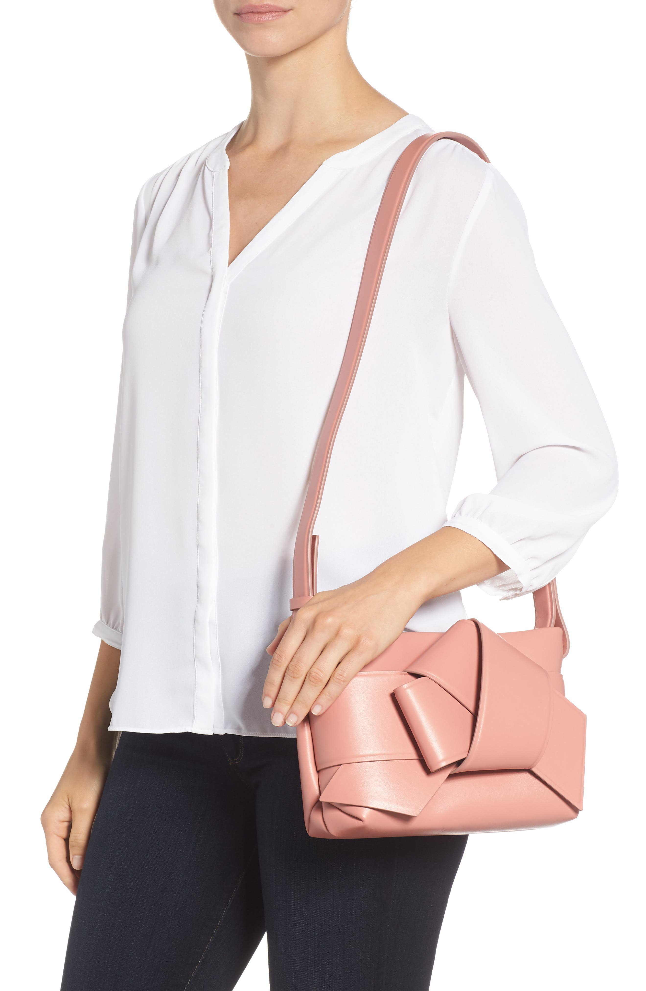 Musubi Knot Leather Handbag,                             Alternate thumbnail 2, color,                             PINK