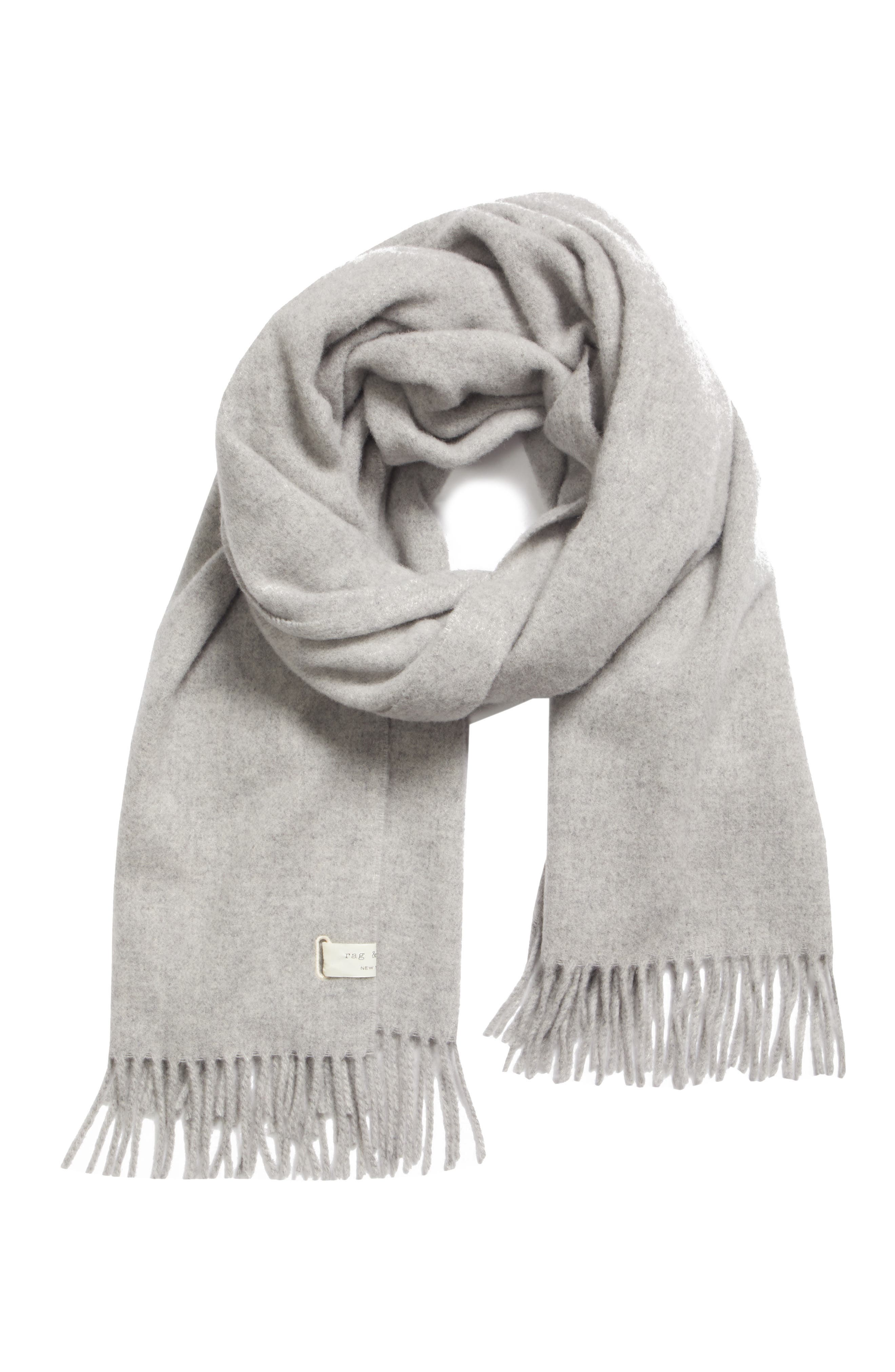Classic Wool Scarf,                             Alternate thumbnail 3, color,                             LIGHT HEATHER GREY