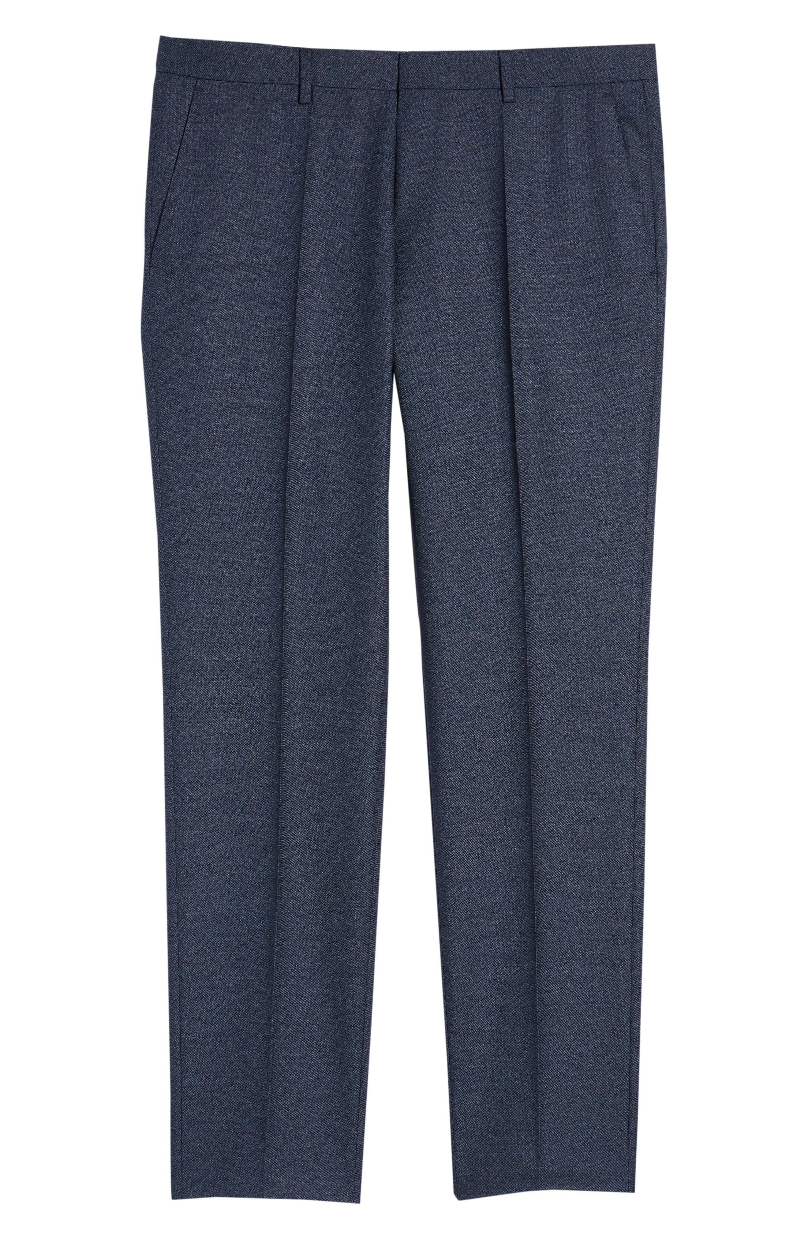 Genesis Flat Front Solid Wool Trousers,                             Alternate thumbnail 6, color,                             OPEN BLUE