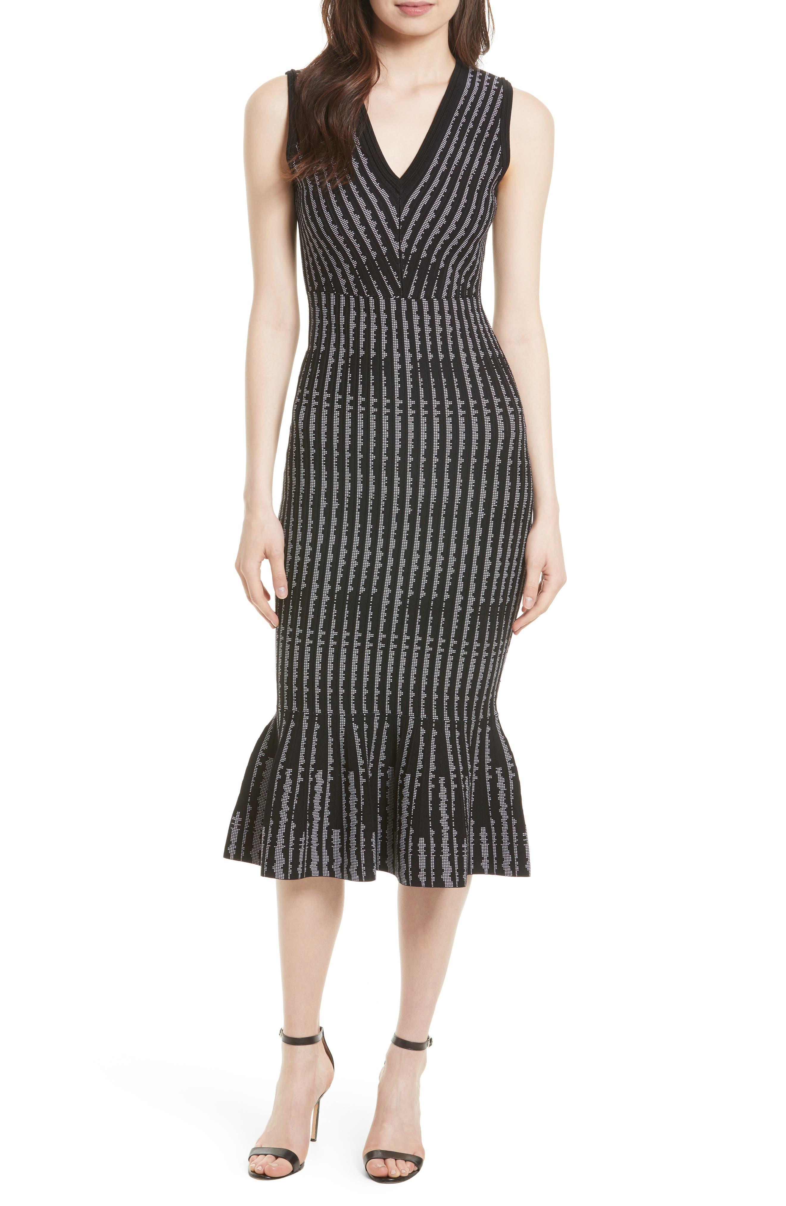 Vertical Optic Mermaid Midi Dress,                         Main,                         color, 001