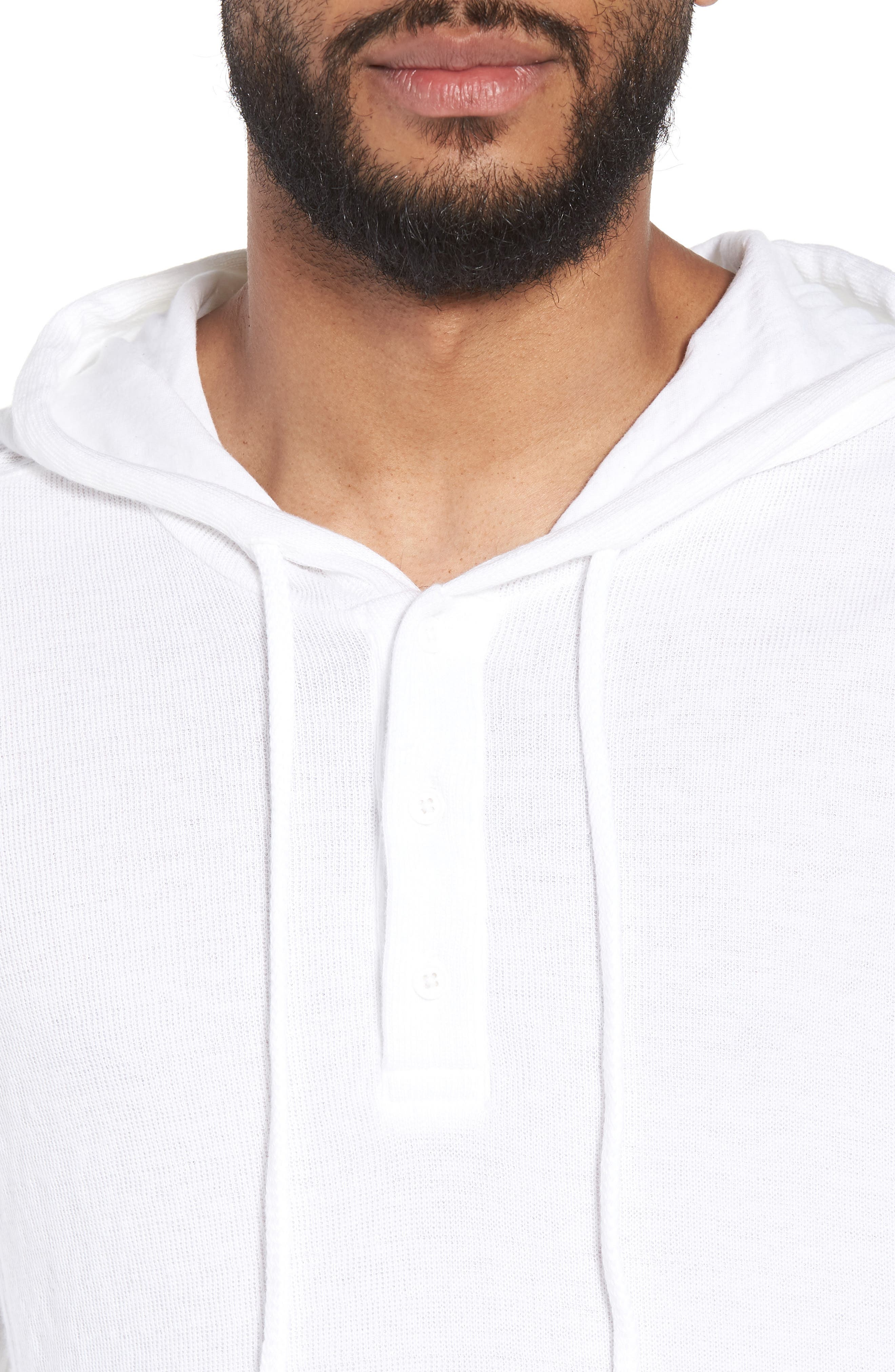Slim Fit Hooded Henley,                             Alternate thumbnail 4, color,                             100