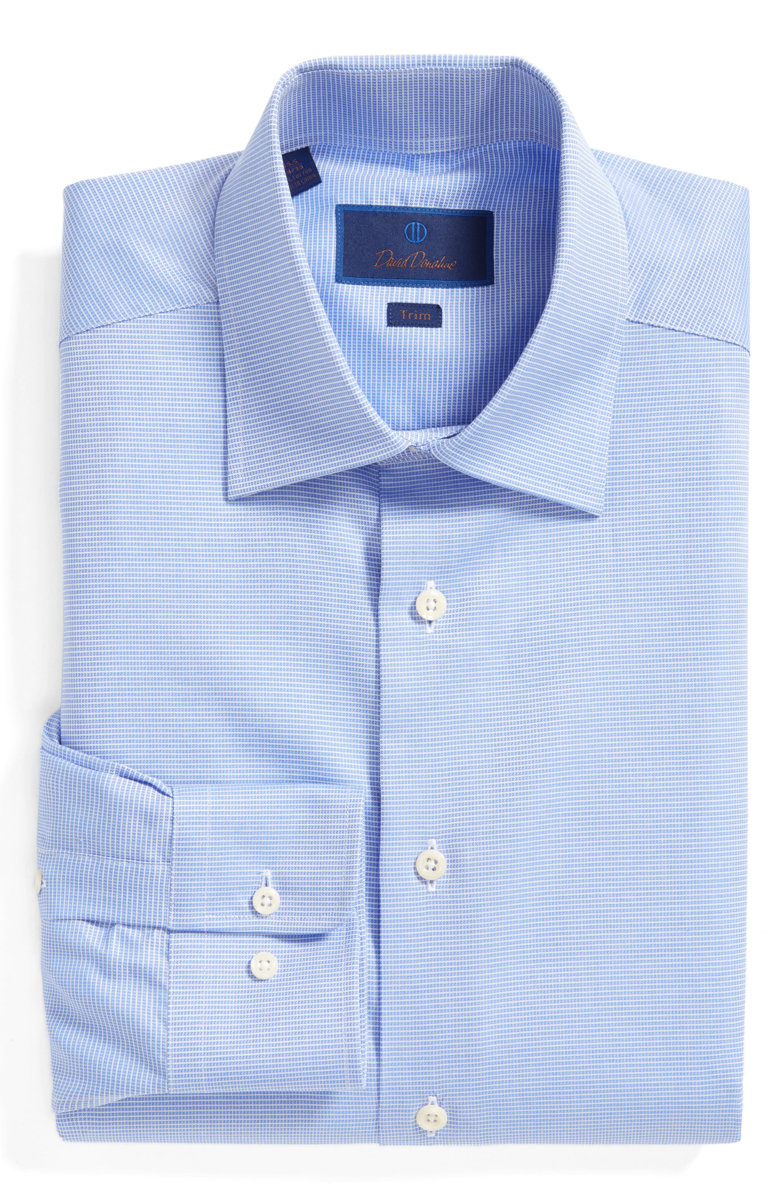 Trim Fit Microcheck Dress Shirt,                             Alternate thumbnail 3, color,                             BLUE