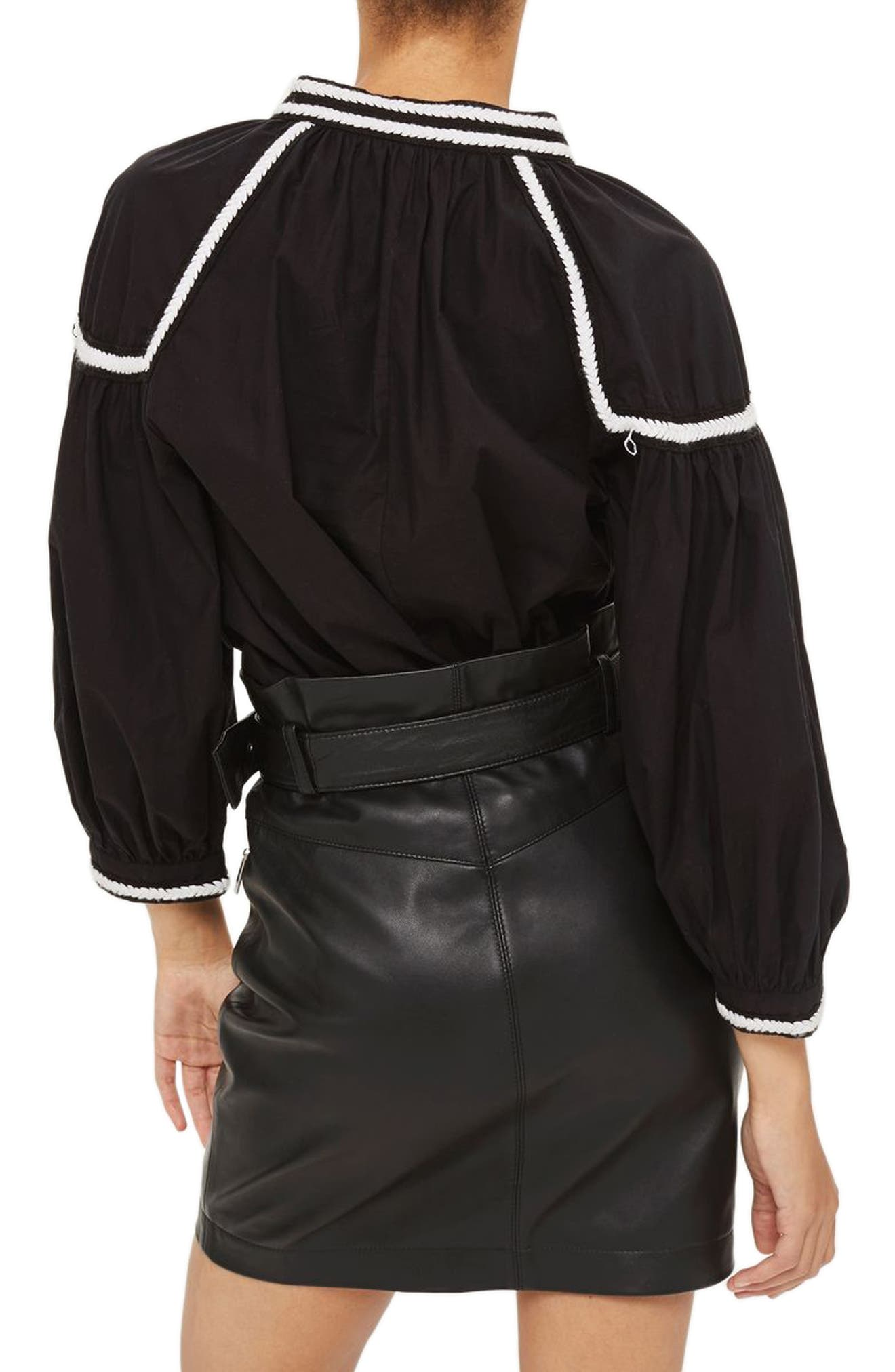 Embroidered Poplin Tie Neck Top,                             Alternate thumbnail 2, color,                             001