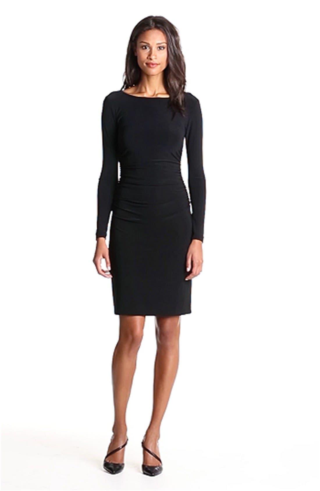 Shirred Long Sleeve Dress,                             Alternate thumbnail 6, color,                             001