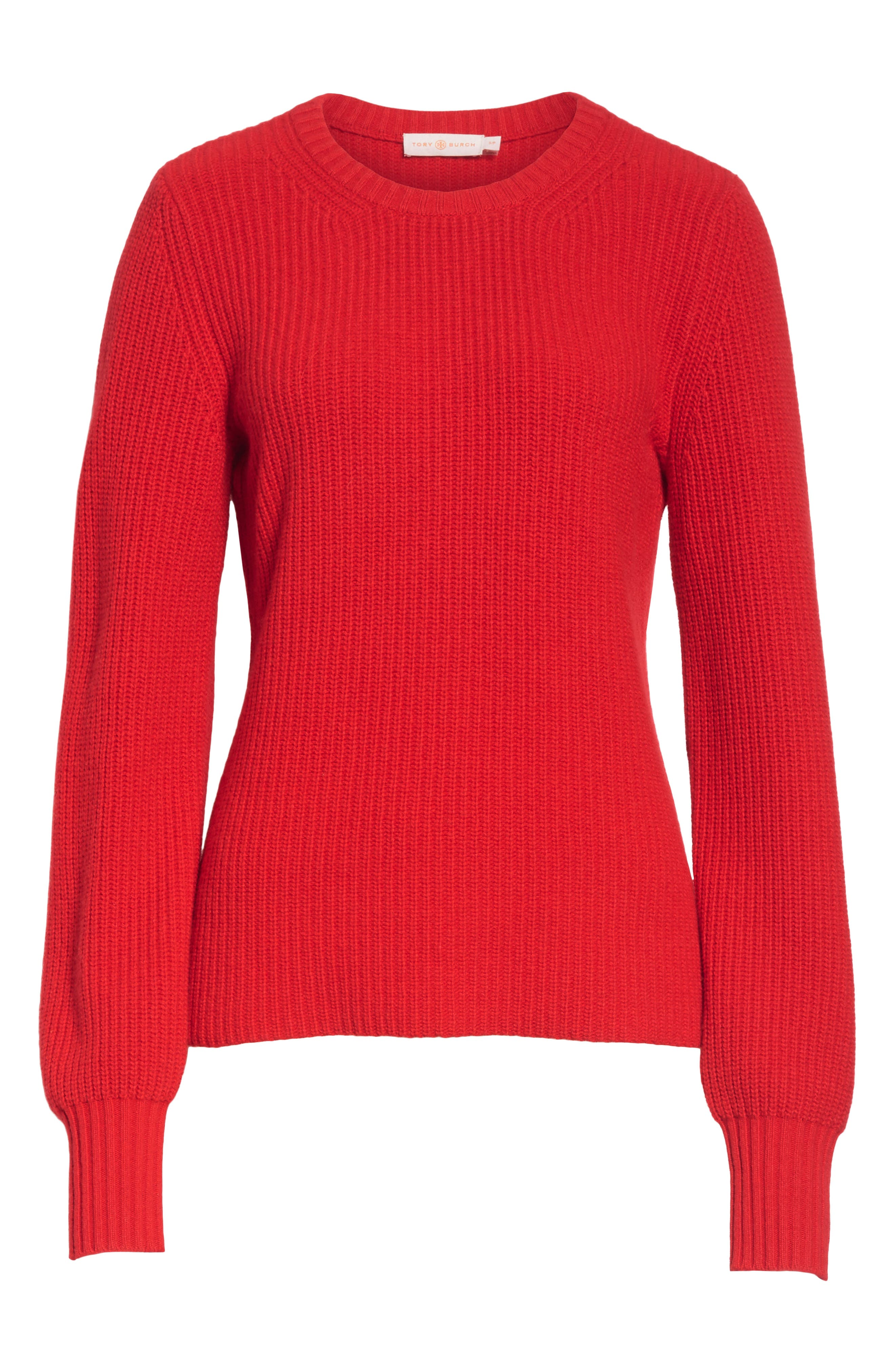 Kennedy Shaker Stitch Sweater,                             Alternate thumbnail 6, color,                             TRUE RED