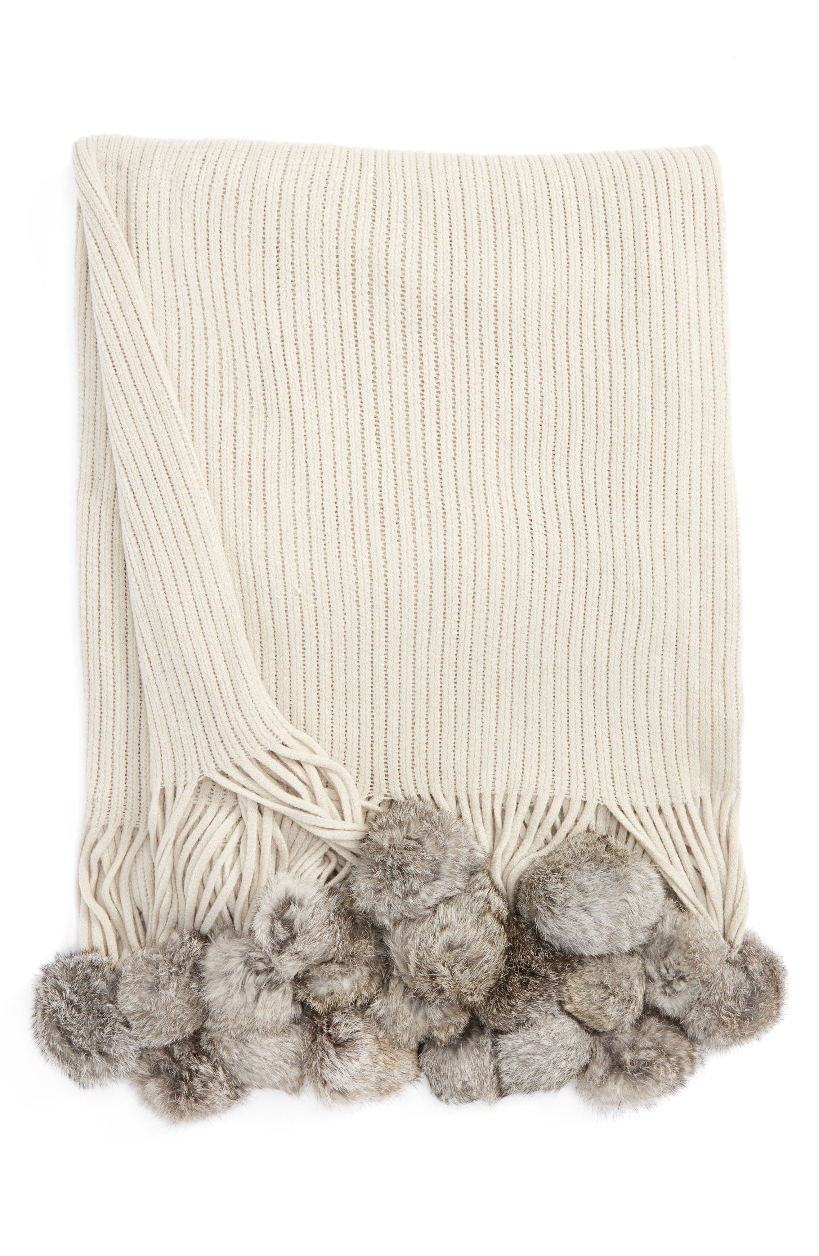 Genuine Rabbit Fur Pompom Rib Knit Throw,                         Main,                         color, 040