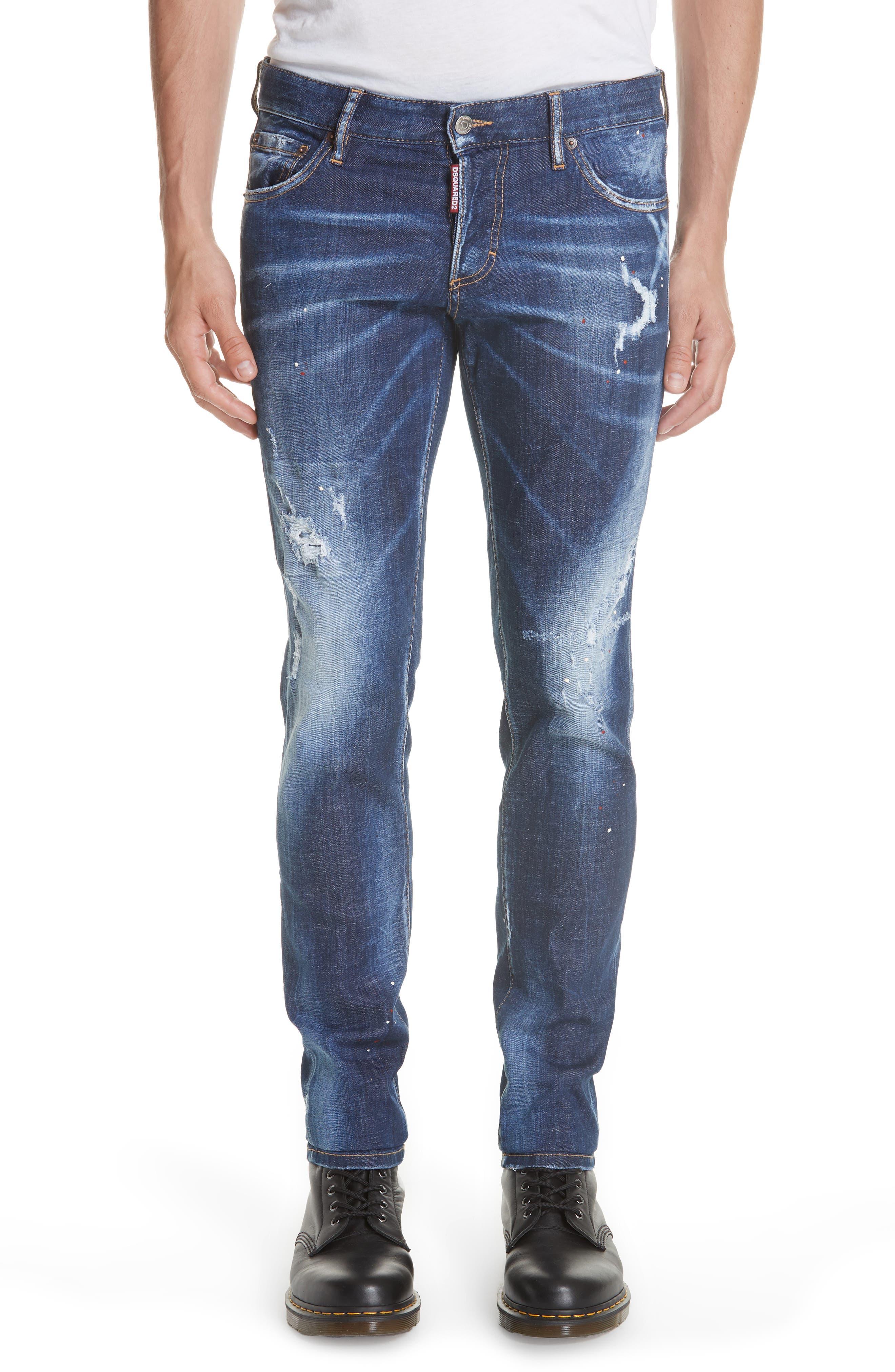 Paint Splatter Slim Fit Jeans, Main, color, 400