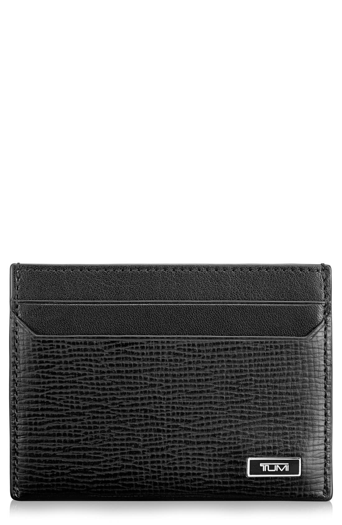 Monaco Slim Leather Card Case,                             Main thumbnail 1, color,                             001
